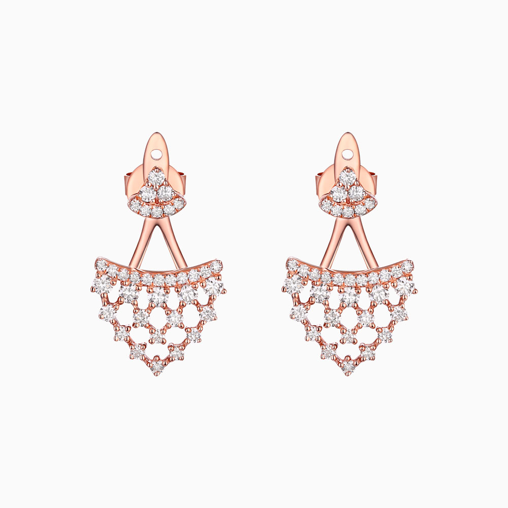E25735WHT – 14K Rose Gold Diamond Earrings, 0.79 TCW