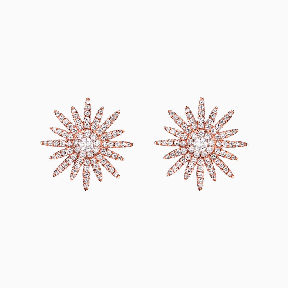E25774WHT – 14K Rose Gold Diamond Earrings, 0.80 TCW