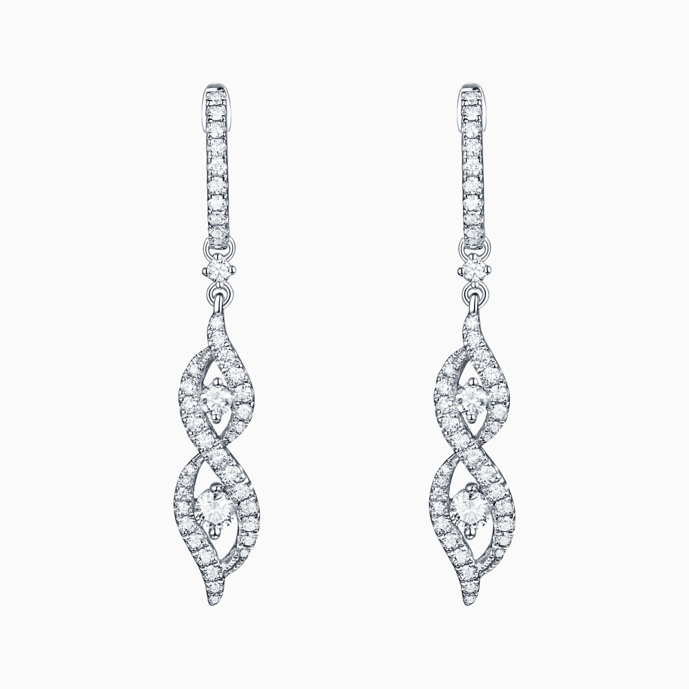 E26226WHT – 14K White Gold Diamond Earrings, 0.76 TCW