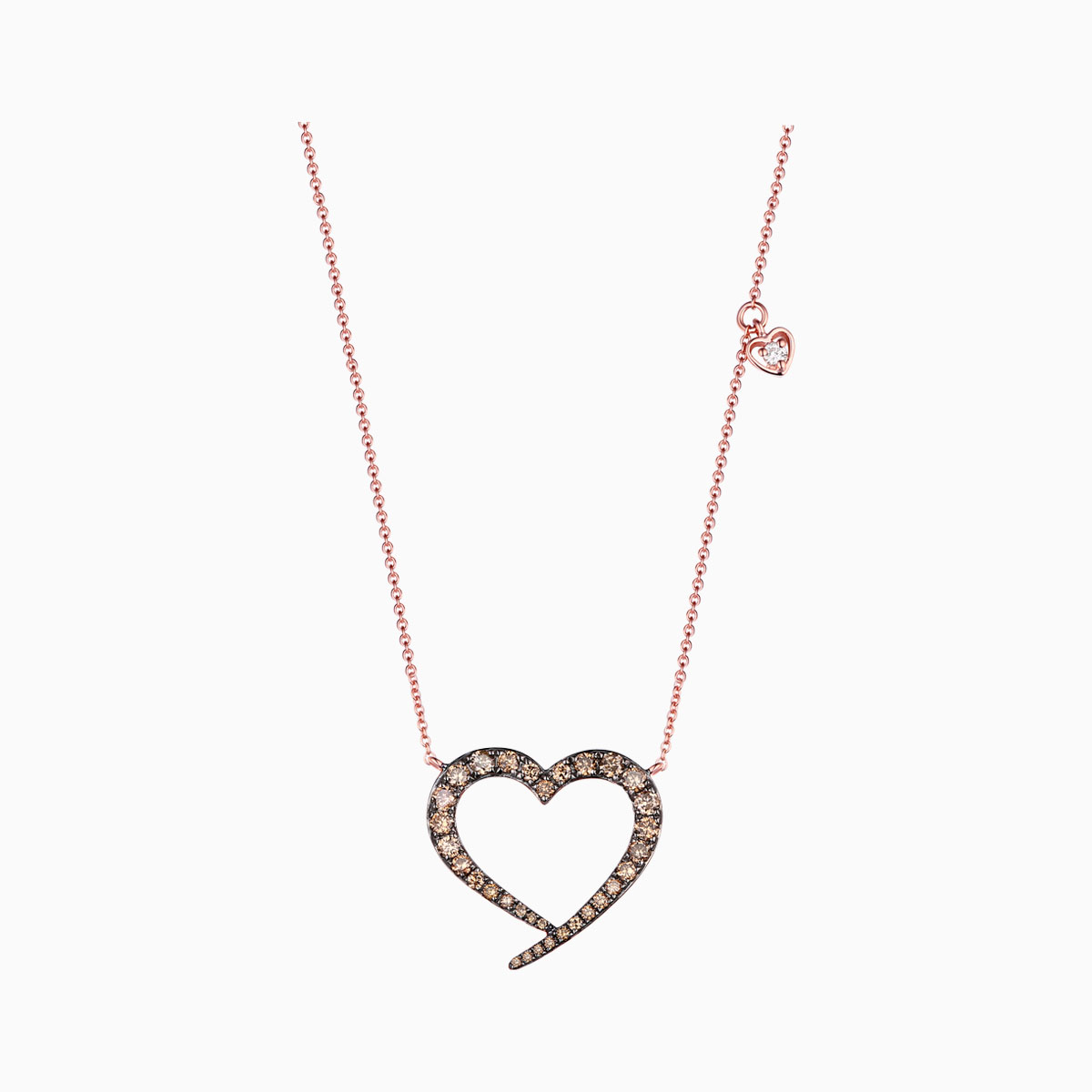 NL25725BRN- 14K Rose Gold Diamond Necklace, 0.62 TCW