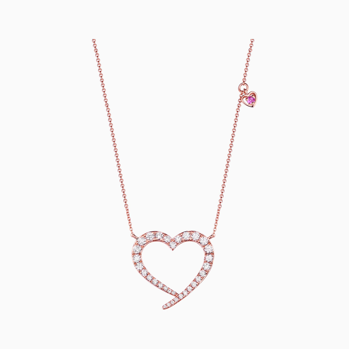 NL25725WPS- 14K Rose Gold Diamond Necklace, 0.56 TCW