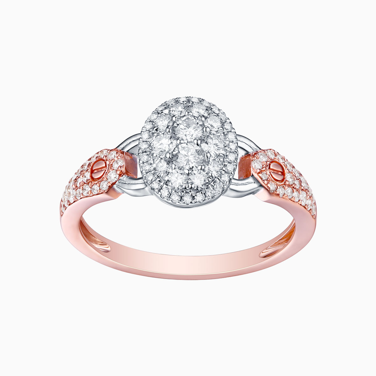 R17601WHT- 14K Rose Gold Diamond Ring, 0.58 TCW