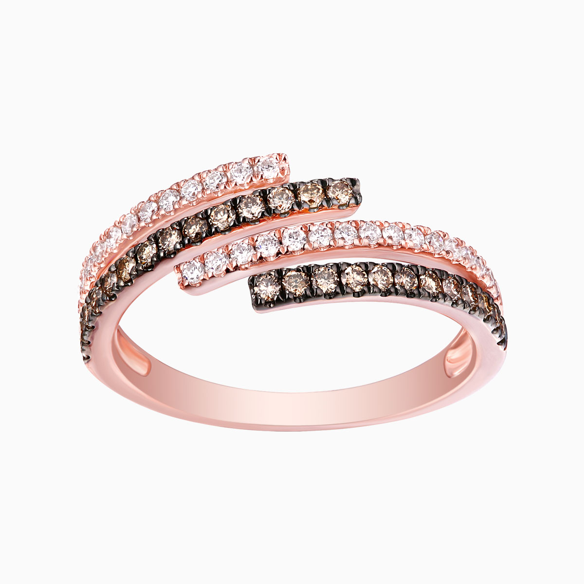 R24857WBR- 14K Rose Gold Diamond Ring, 0.48 TCW