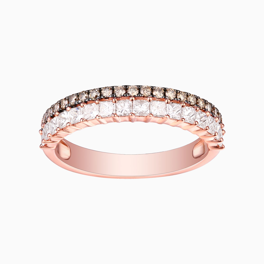 R24916BRN- 14K Rose Gold Diamond Ring, 0.84 TCW