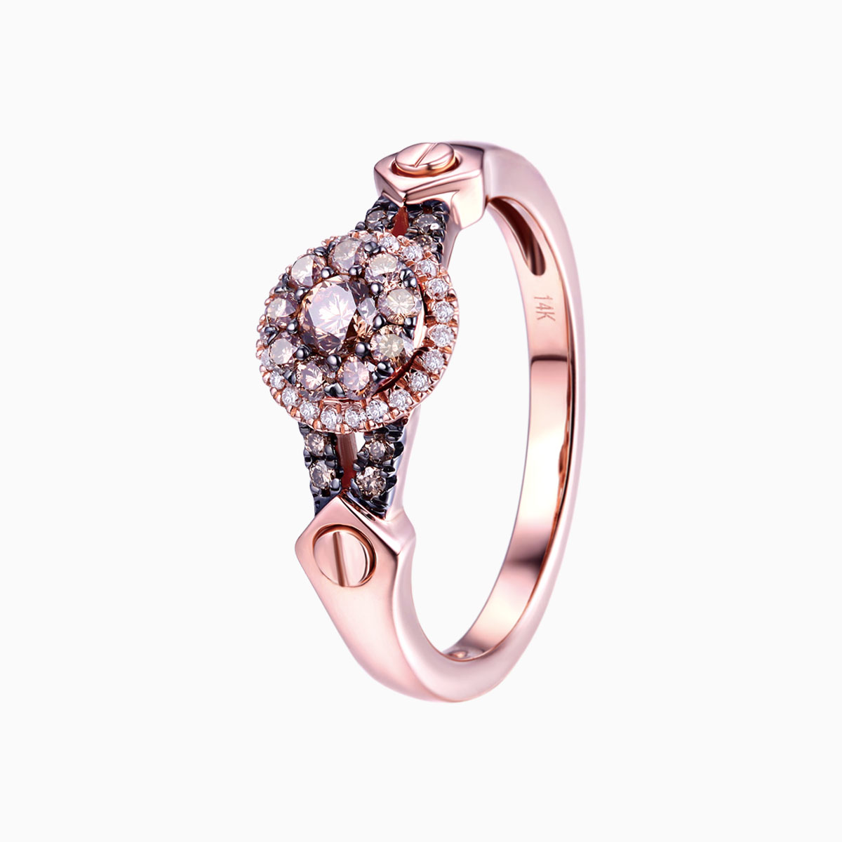 R17592BRN- 14K Rose Gold Diamond Ring, 0.45 TCW