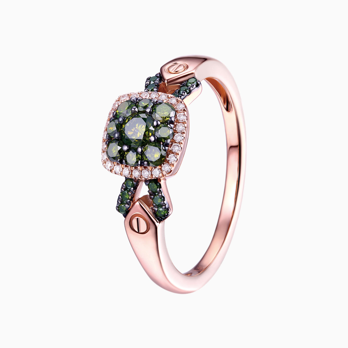 R17604GRN- 14K Rose Gold Diamond Ring, 0.52 TCW