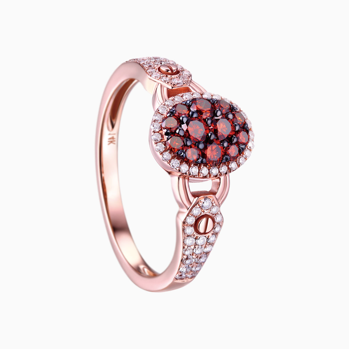 R17601COG- 14K Rose Gold Diamond Ring, 0.62 TCW