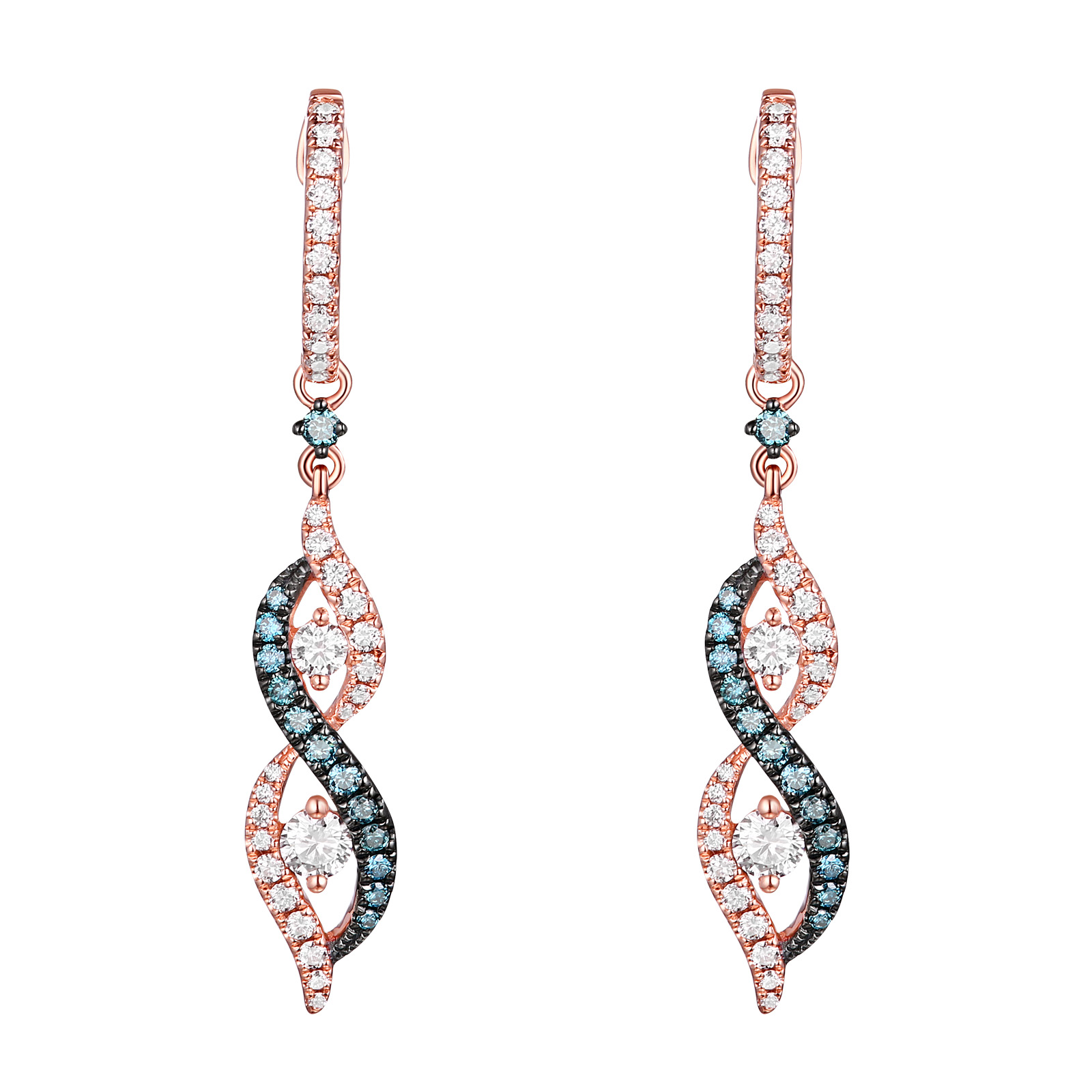 E26226WIC – 14K Rose Gold Diamond Earrings , 0.77 TCW