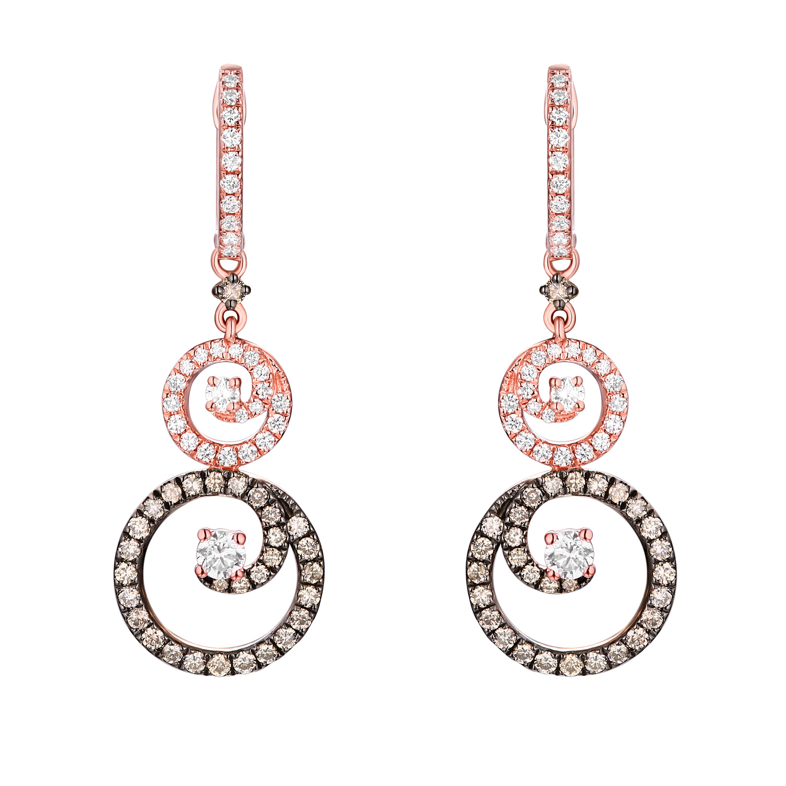 E26444WBR – 14K Rose Gold Diamond Earrings , 1.06 TCW