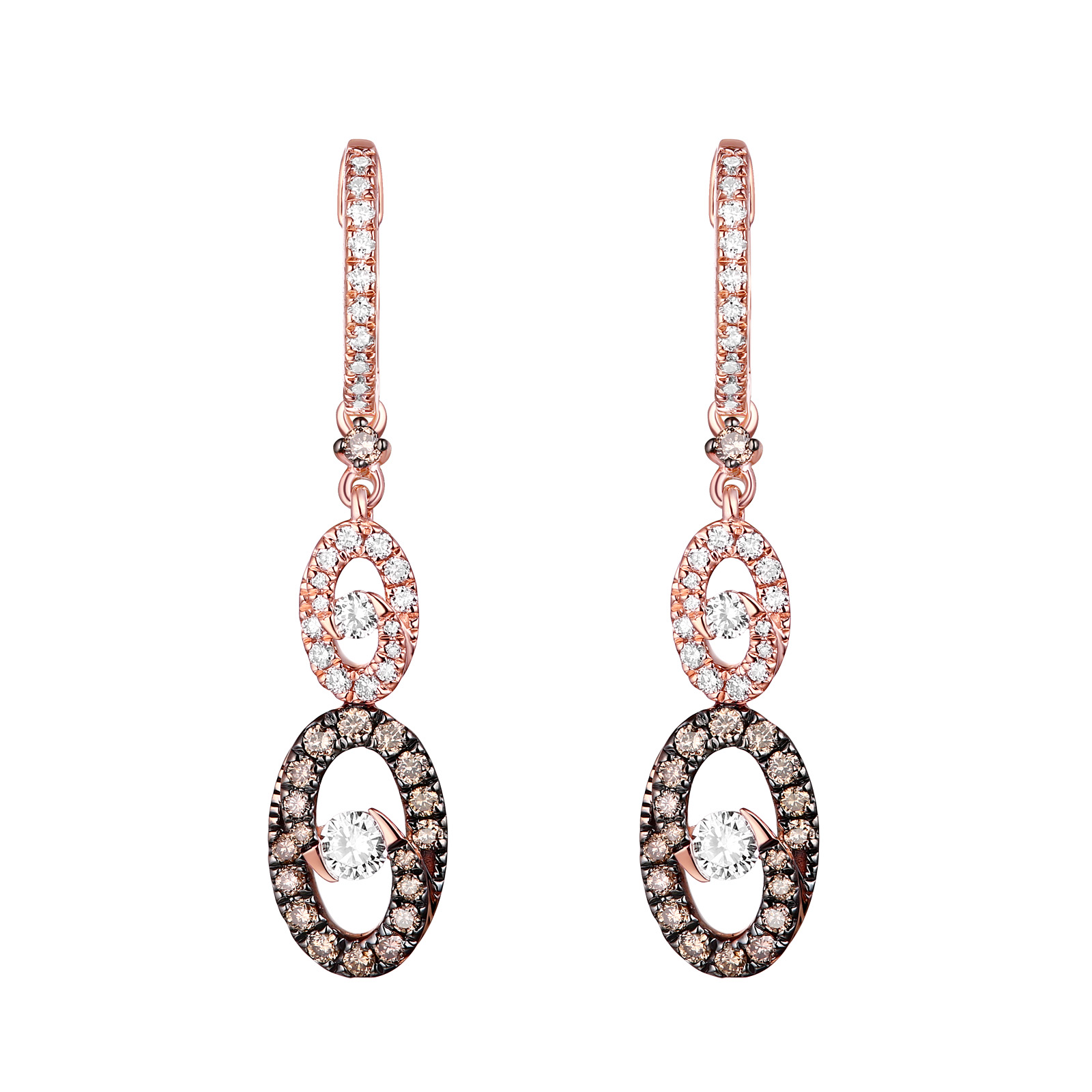 E26577WBR- 14K Rose Gold Diamond Earrings , 0.82 TCW
