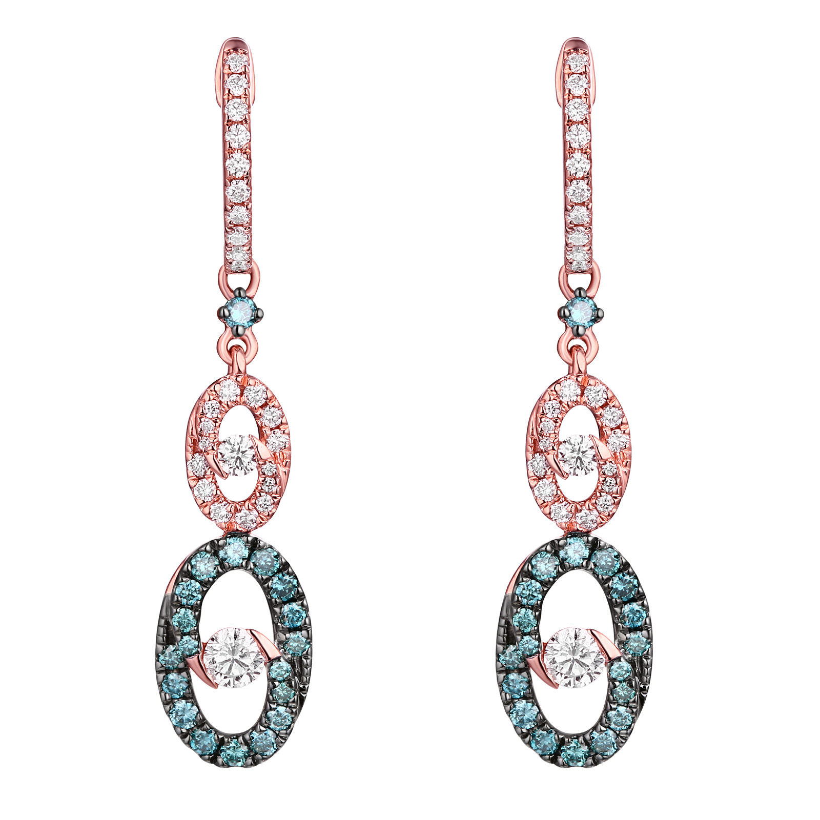 E26577WIC- 14K Rose Gold Diamond Earrings , 0.83 TCW