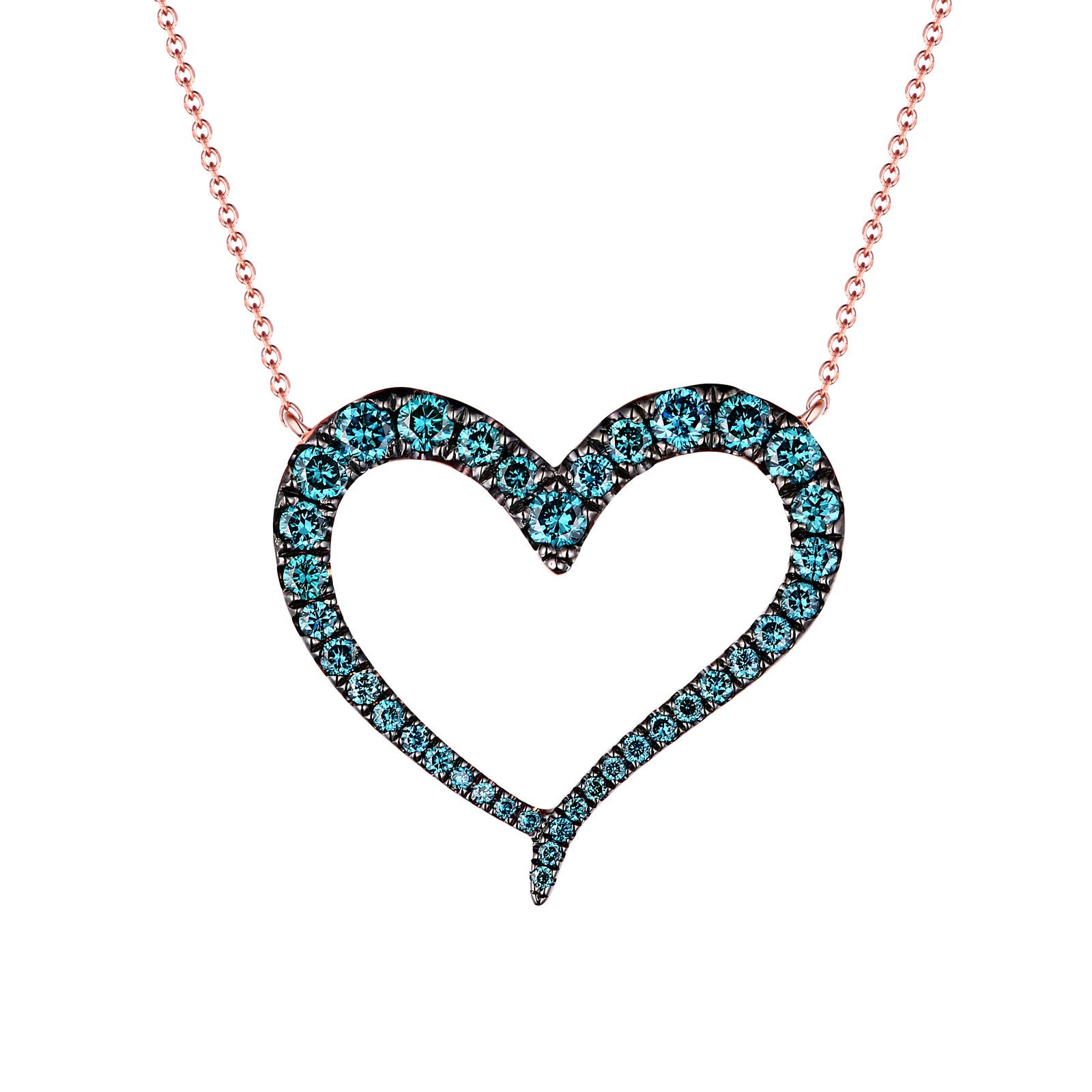 NL24622ICE- 14K Rose Gold Diamond Necklace, 0.58 TCW