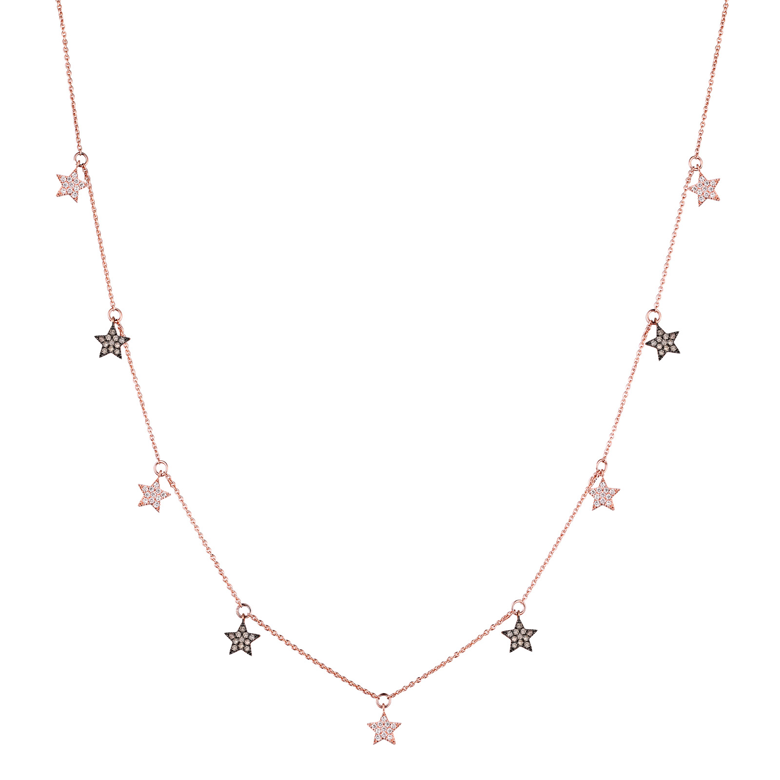 NL25533WBR- 14K Rose Gold Diamond Necklace, 0.65 TCW