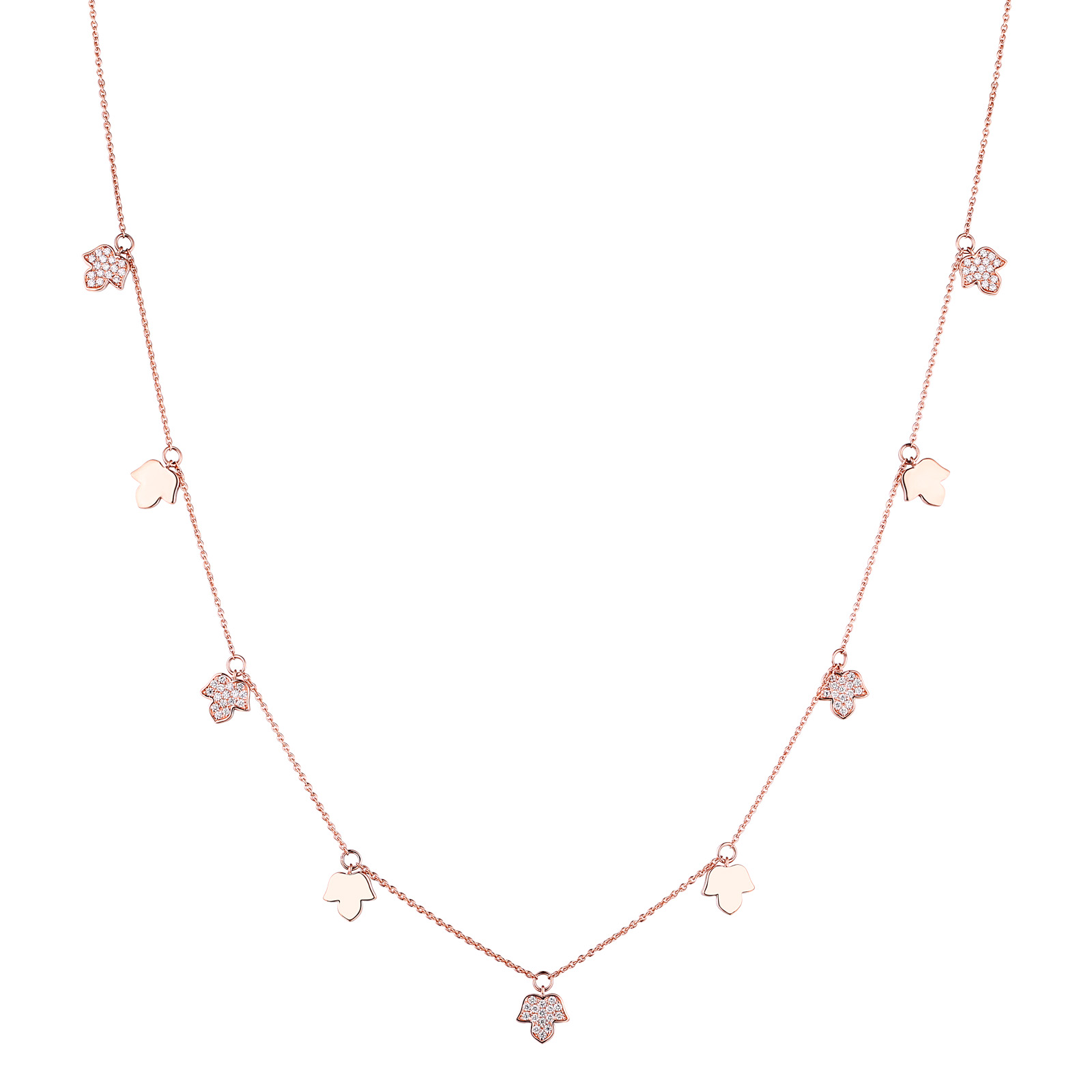 NL25534WHT- 14K Rose Gold Diamond Necklace, 0.51 TCW