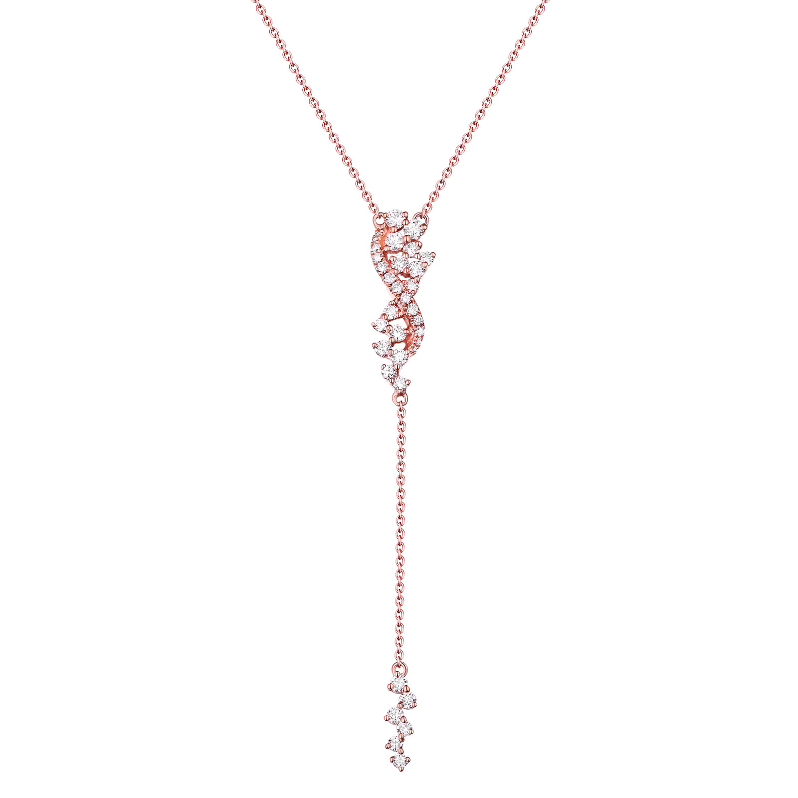 NL25733WHT- 14K Rose Gold Diamond Necklace, 0.47 TCW