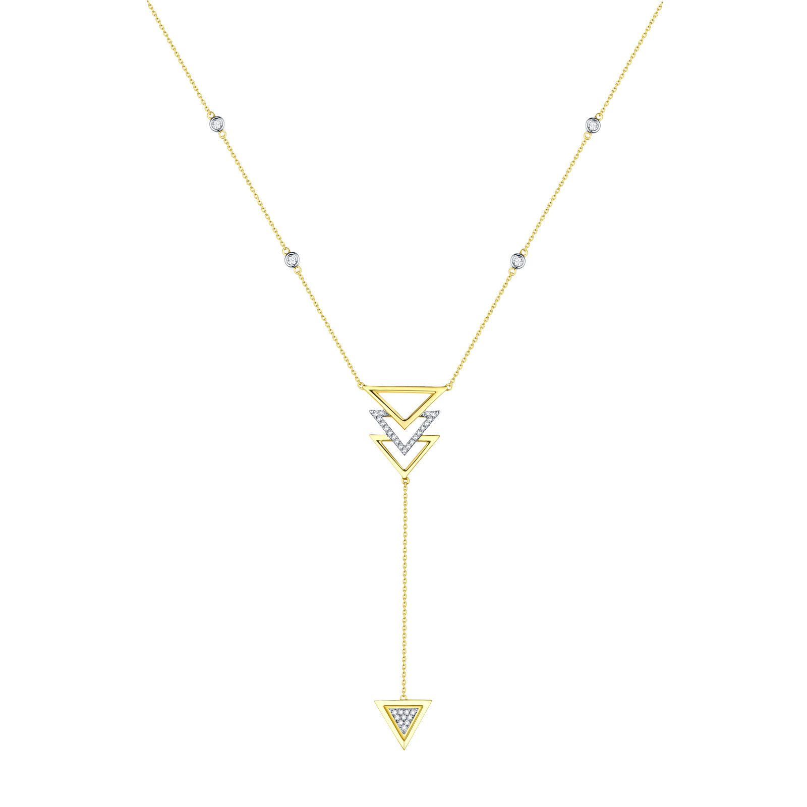 NL25995WHT- 14K Yellow Gold Diamond Necklace, 0.14 TCW