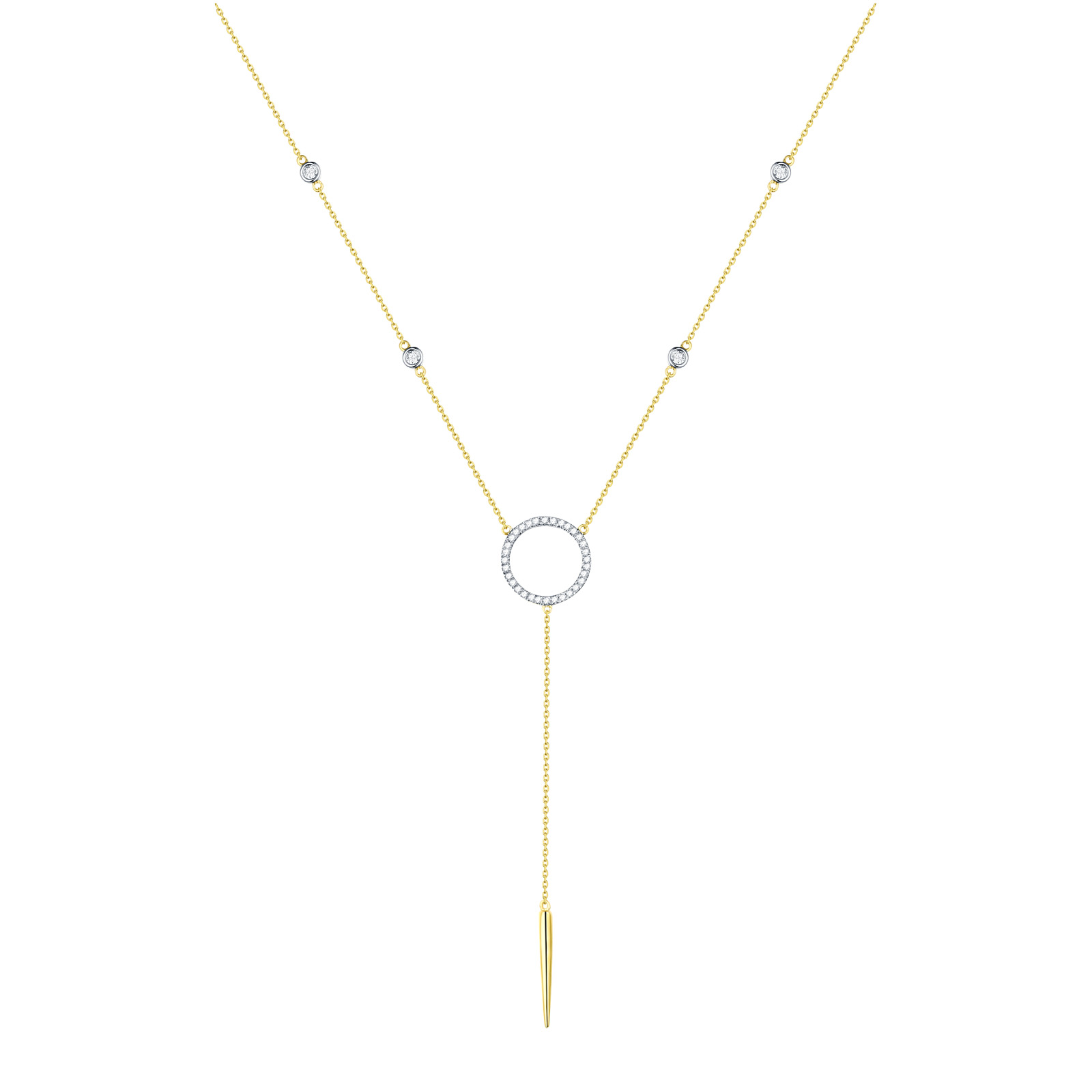 NL25996WHT- 14K Yellow Gold Diamond Necklace, 0.15 TCW