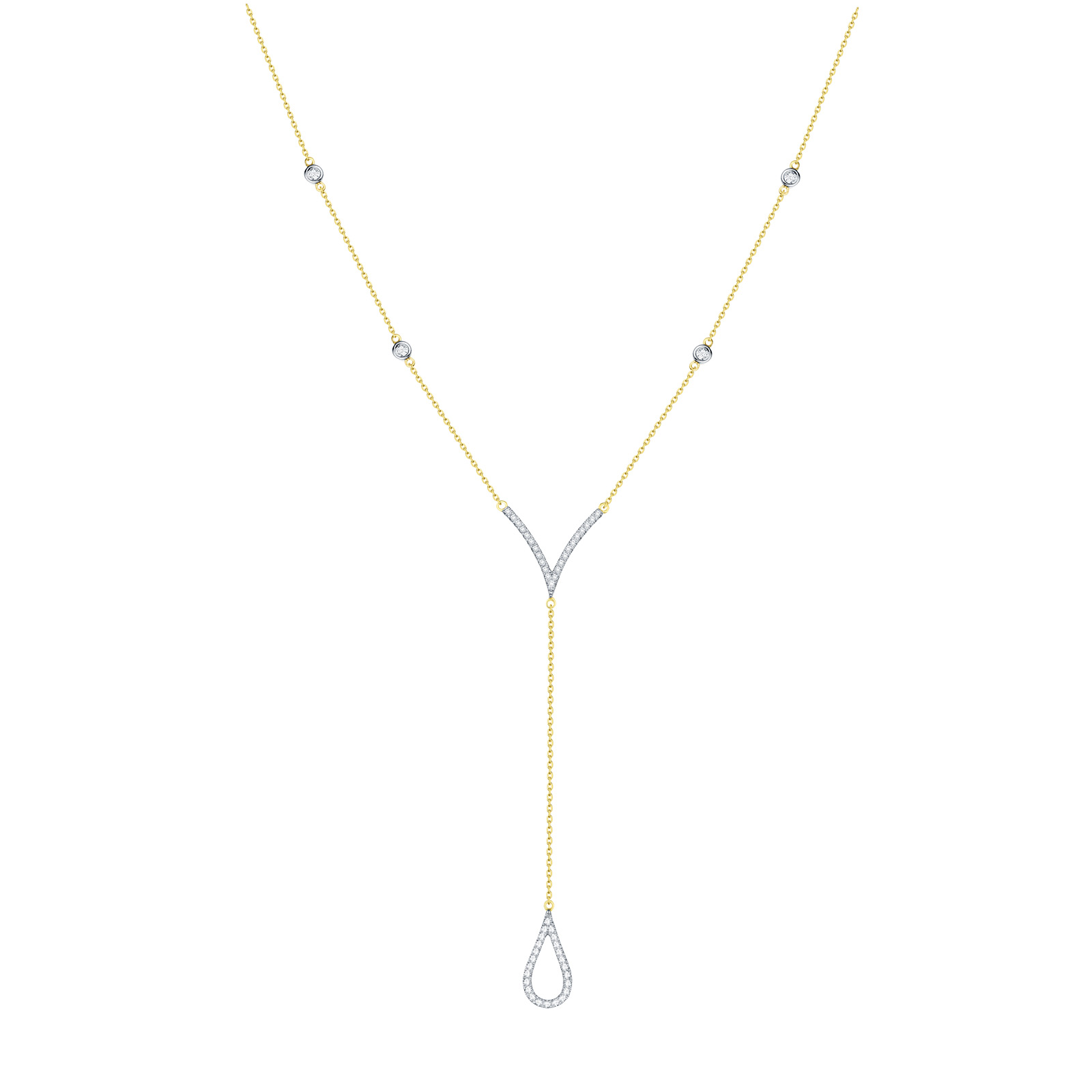 NL25997WHT – 14K Yellow Gold Diamond Necklace, 0.18 TCW
