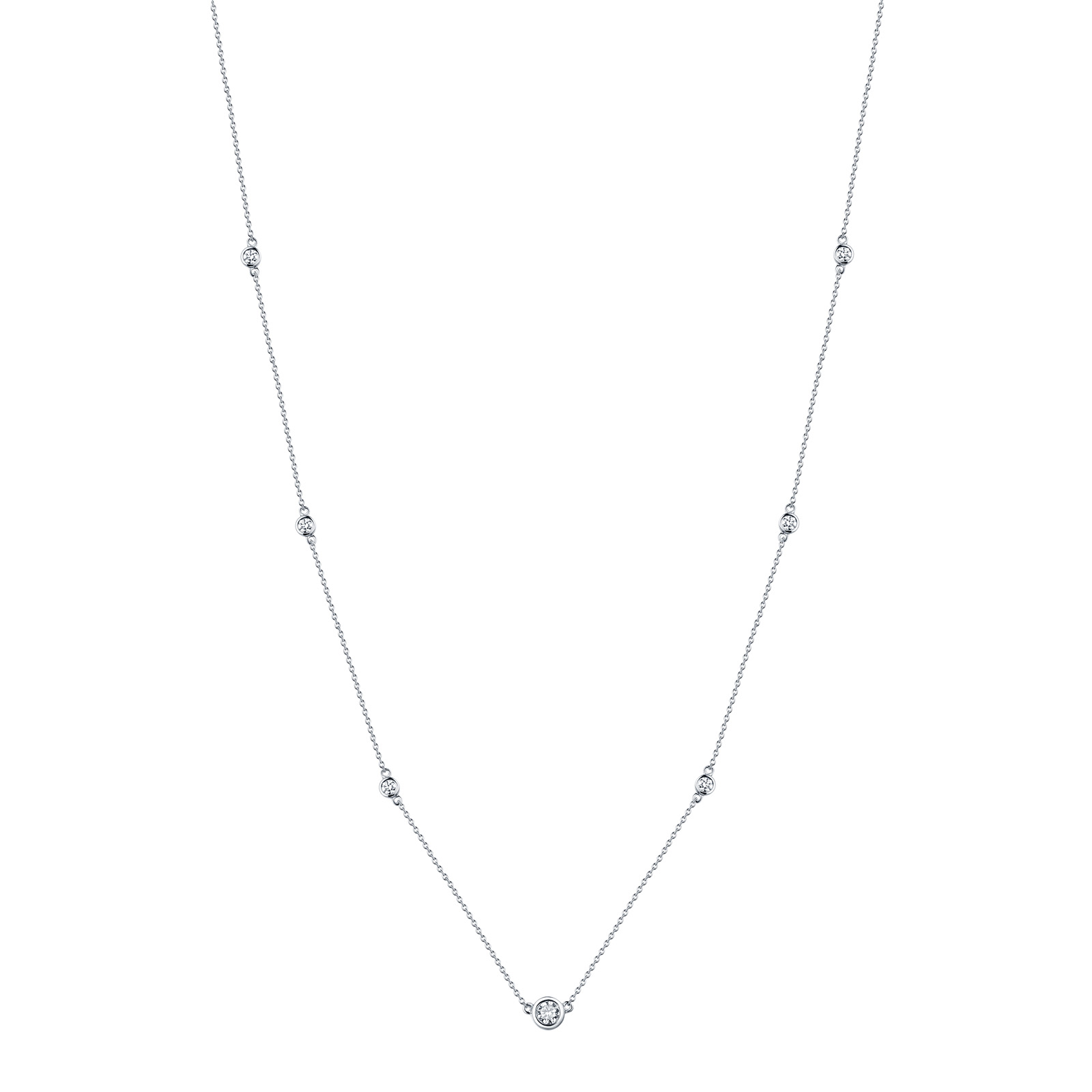NL26223WHT- 14K White Gold Diamond Necklace, 0.43 TCW