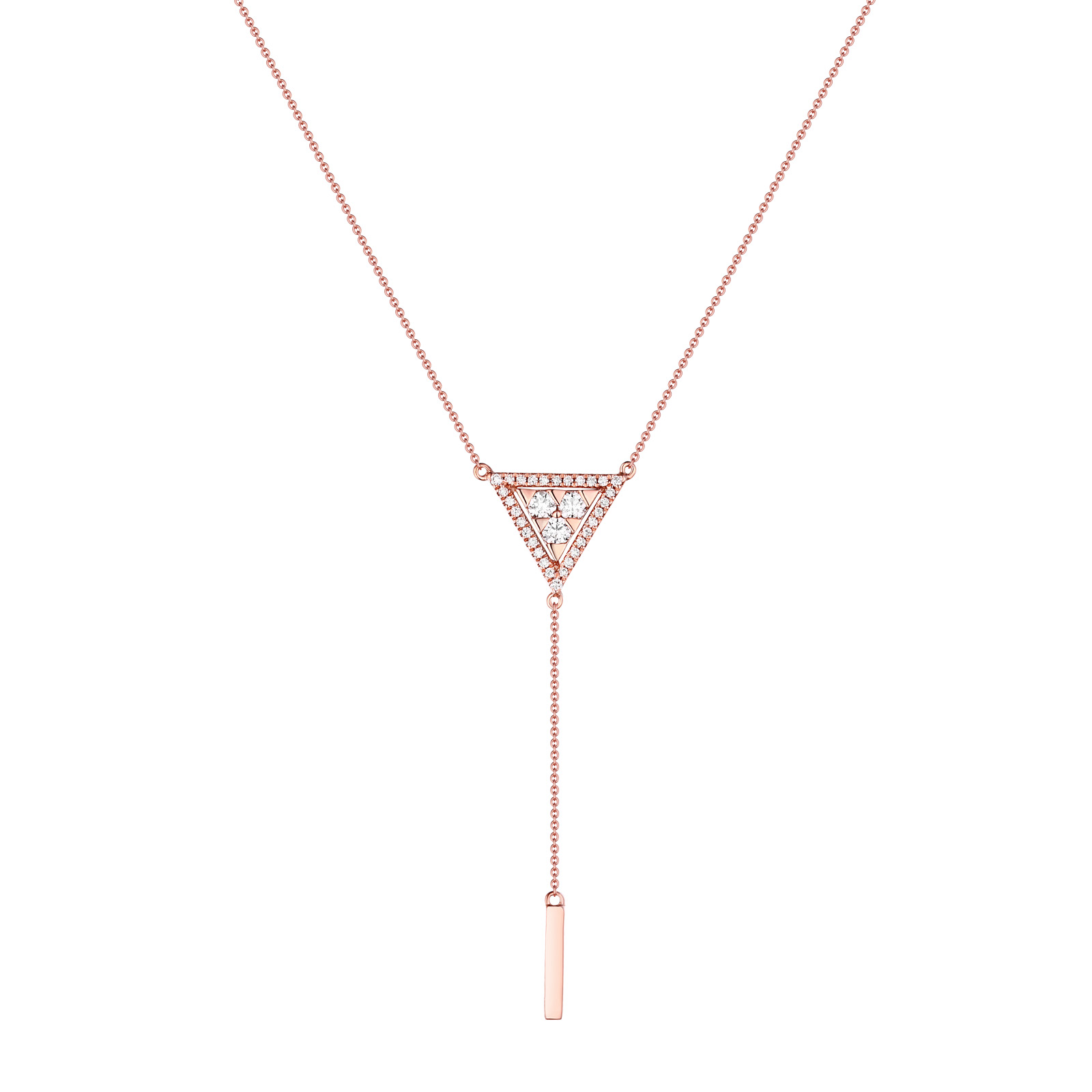 NL26427WHT- 14K Rose Gold Diamond Necklace, 0.25 TCW