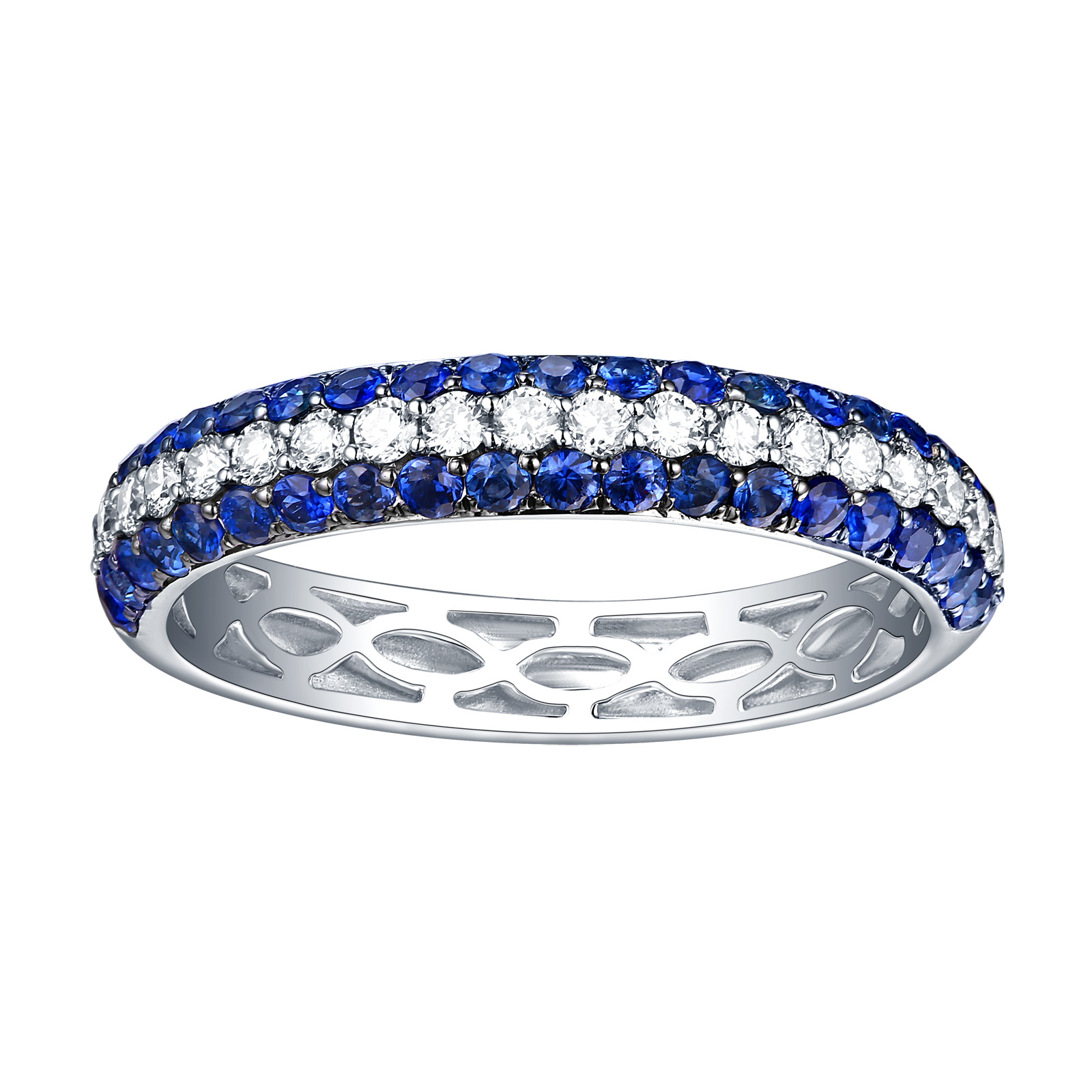 R10051WBS – 14K White Gold Blue Sapphire and Diamond Ring, 0.97 TCW