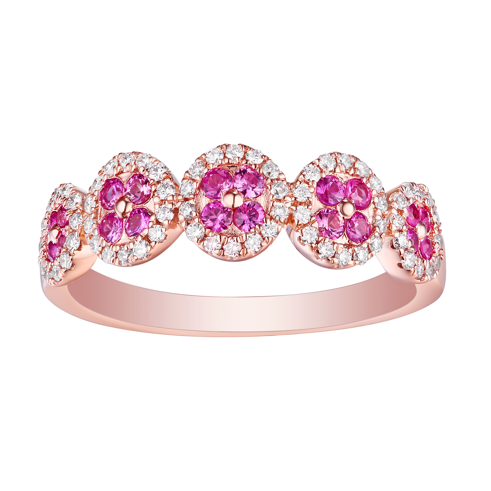 R13401PSA – 14K Rose Gold Pink Sapphire and Diamond Ring, 0.54 TCW