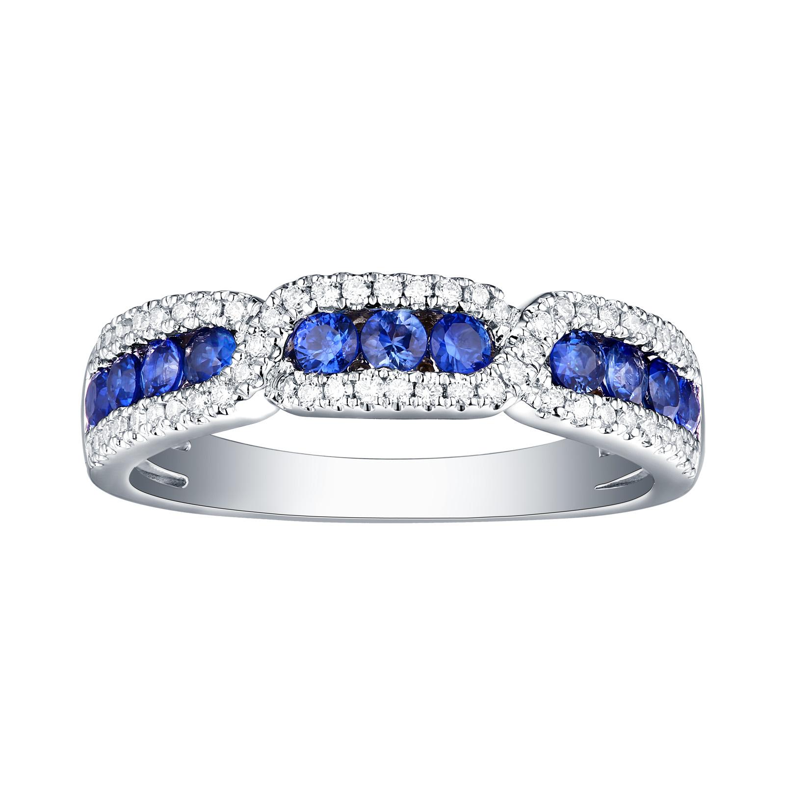 R22402BSA – 14K White Gold Blue Sapphire and Diamond Ring, 0.74 TCW