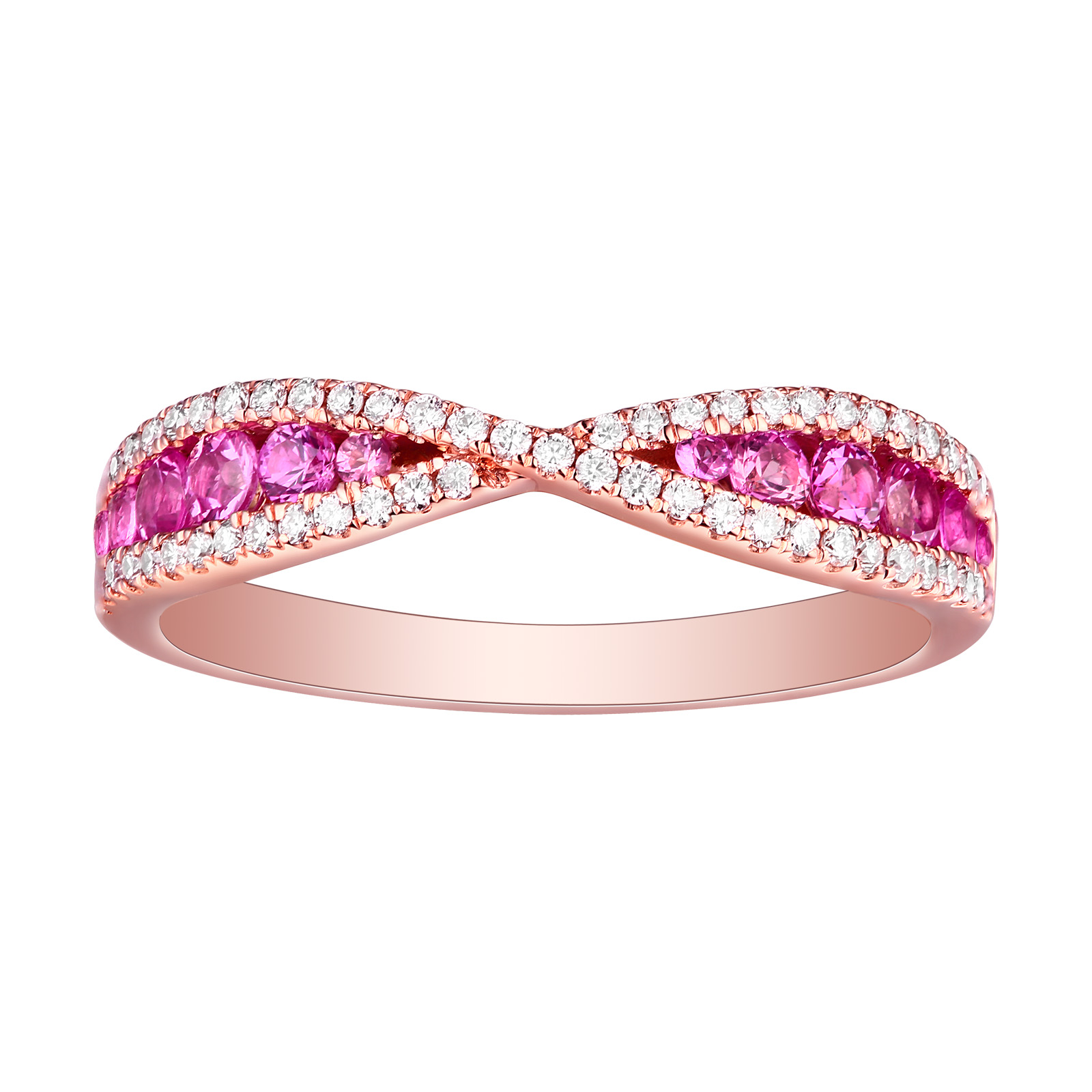R22815PSA – 14K Rose Gold Pink Sapphire and Diamond Ring, 0.69 TCW