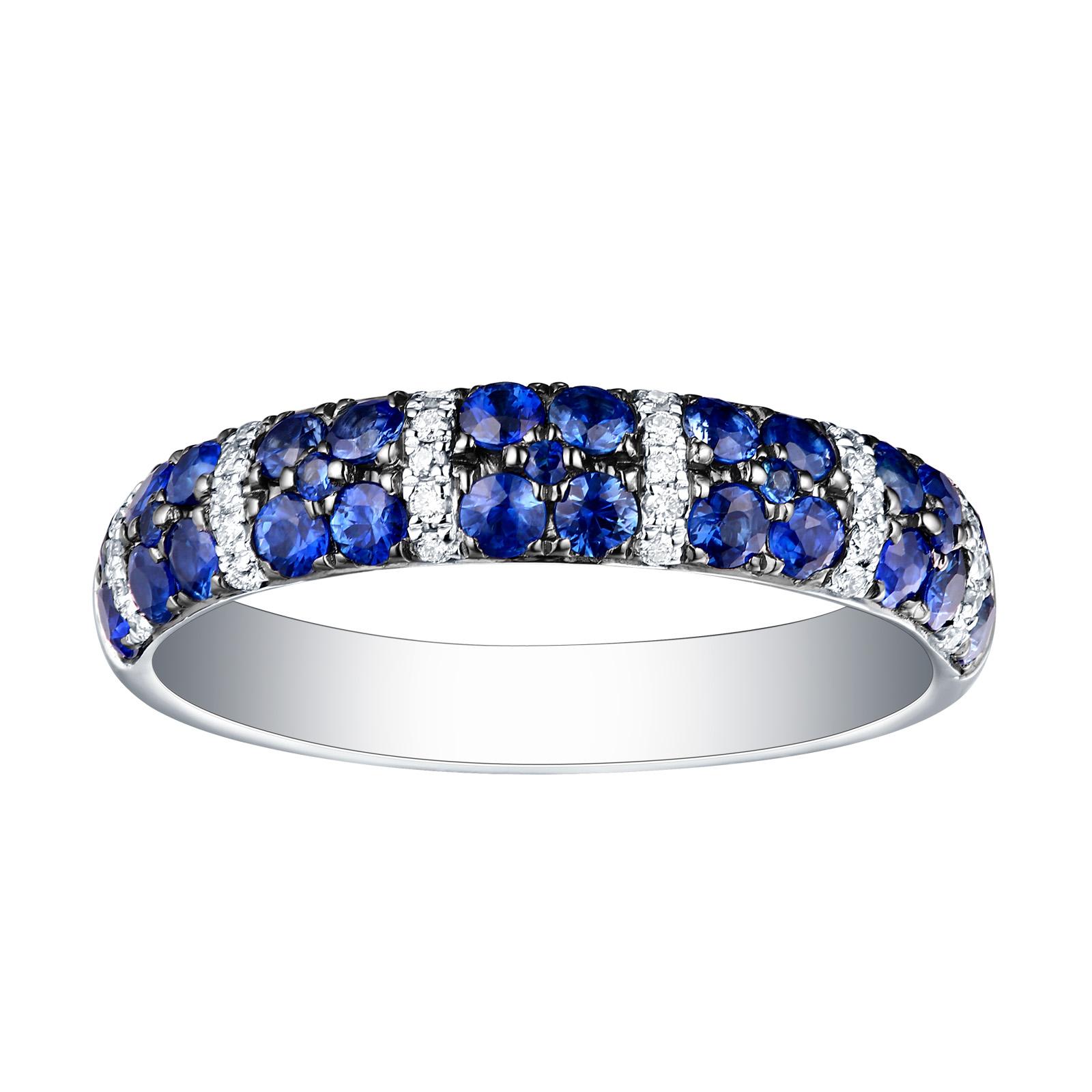 R22832BSA – 14K White Gold Blue Sapphire and Diamond Ring, 0.98 TCW