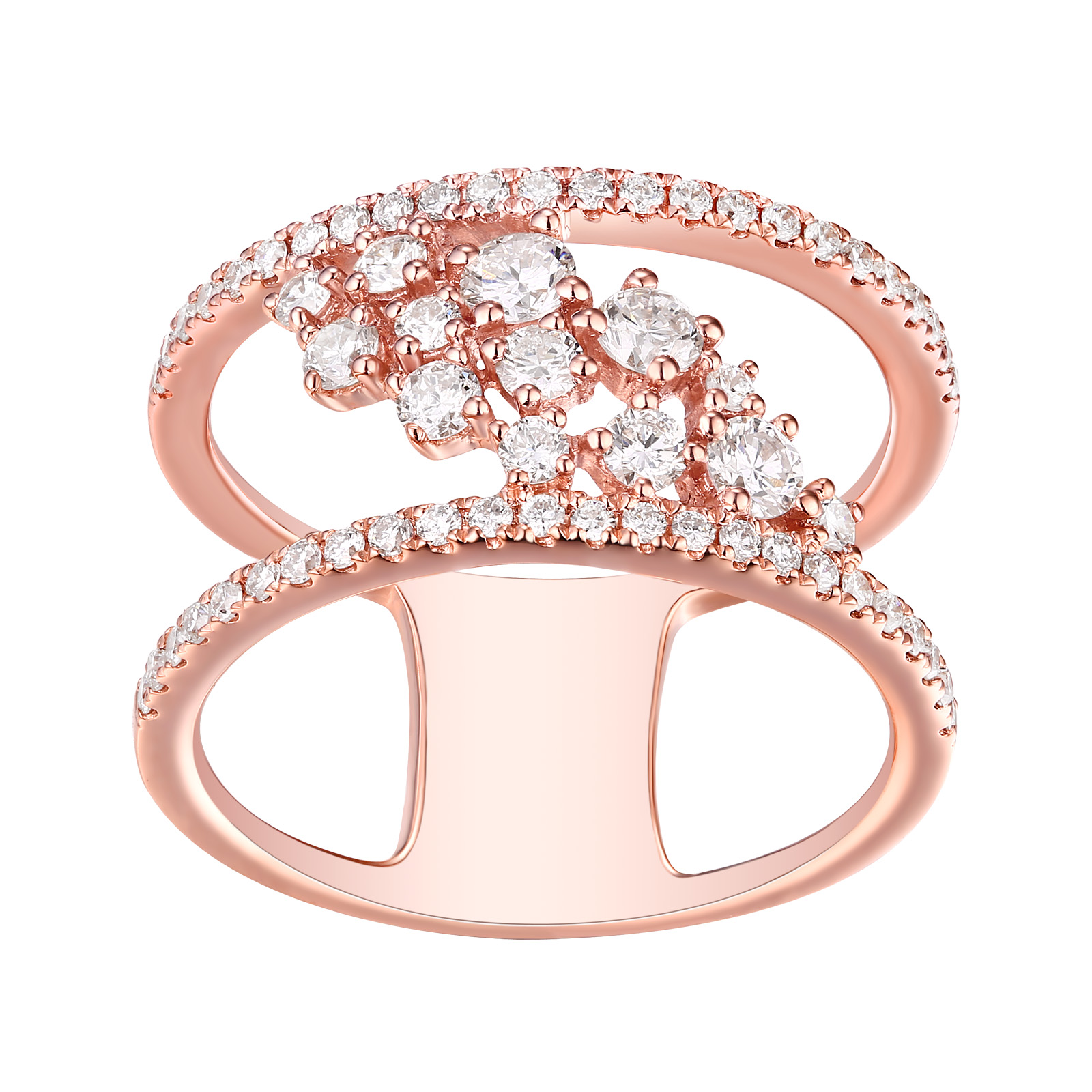 R25521WHT- 14K Rose Gold Diamond Ring, 1.00 TCW
