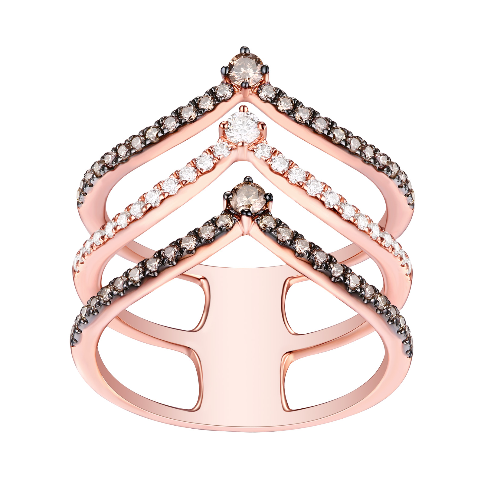R25901WBR- 14K Rose Gold Diamond Ring, 0.60 TCW