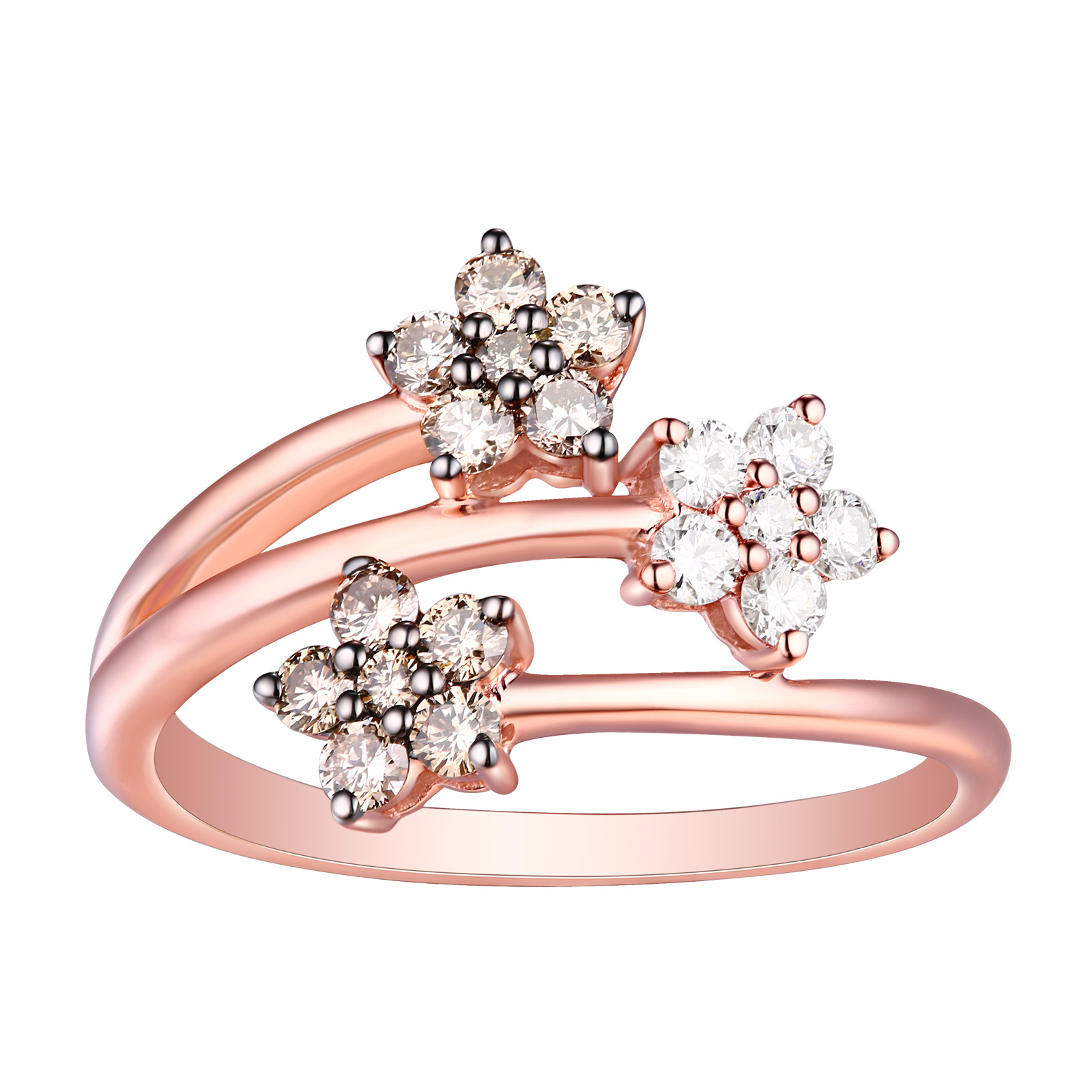 R25903WBR- 14K Rose Gold Diamond Ring, 0.54 TCW