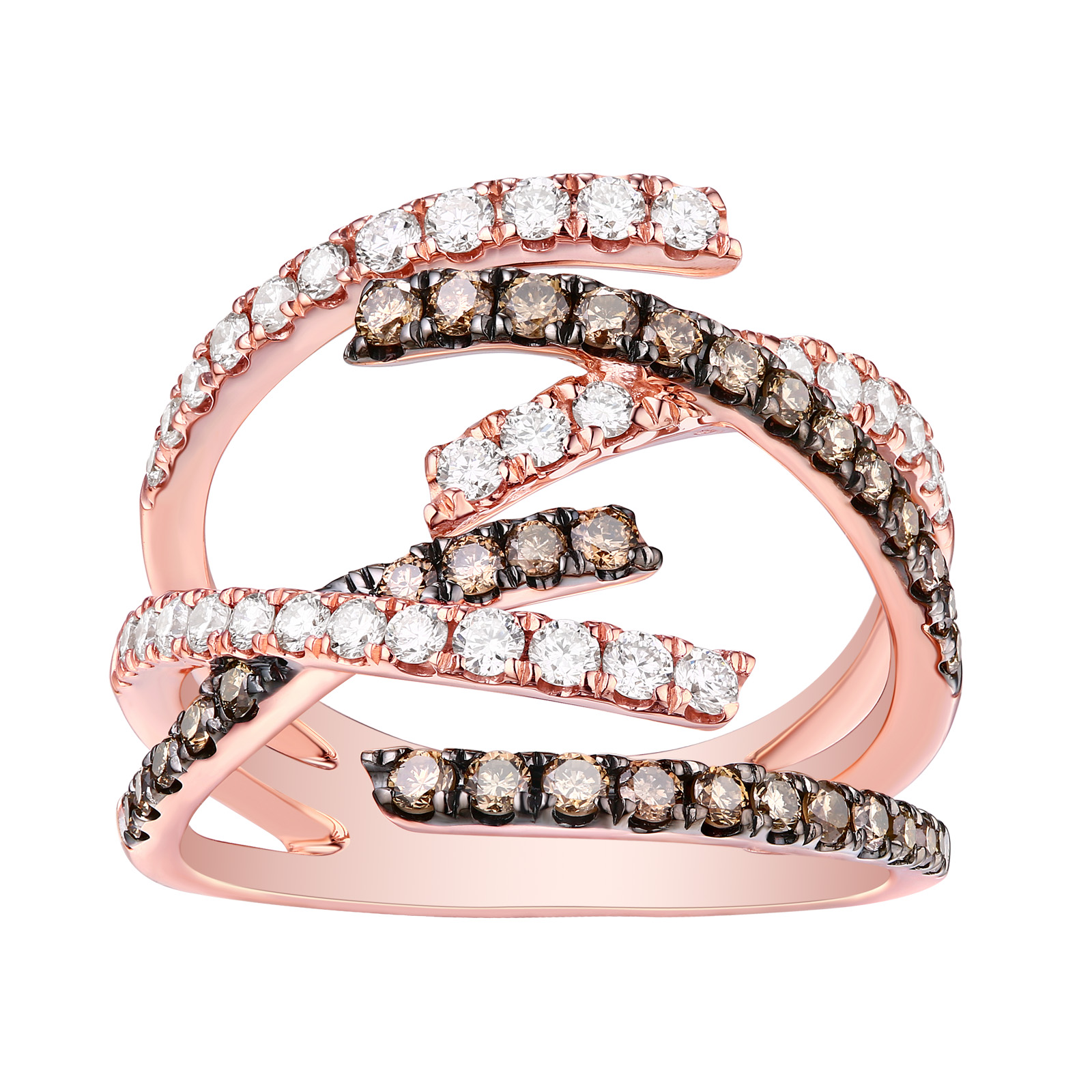 R26166WBR- 14K Rose Gold Diamond Ring, 1.13 TCW