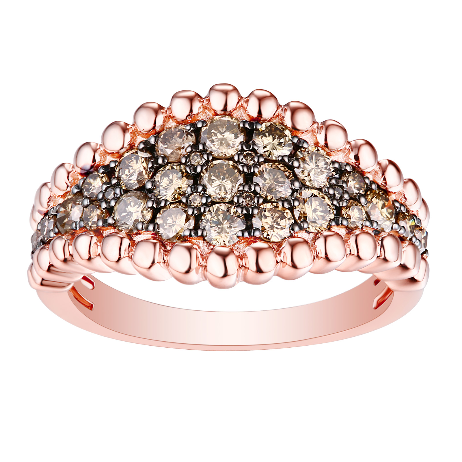 R26175BRN- 14K Rose Gold Diamond Ring, 0.99 TCW