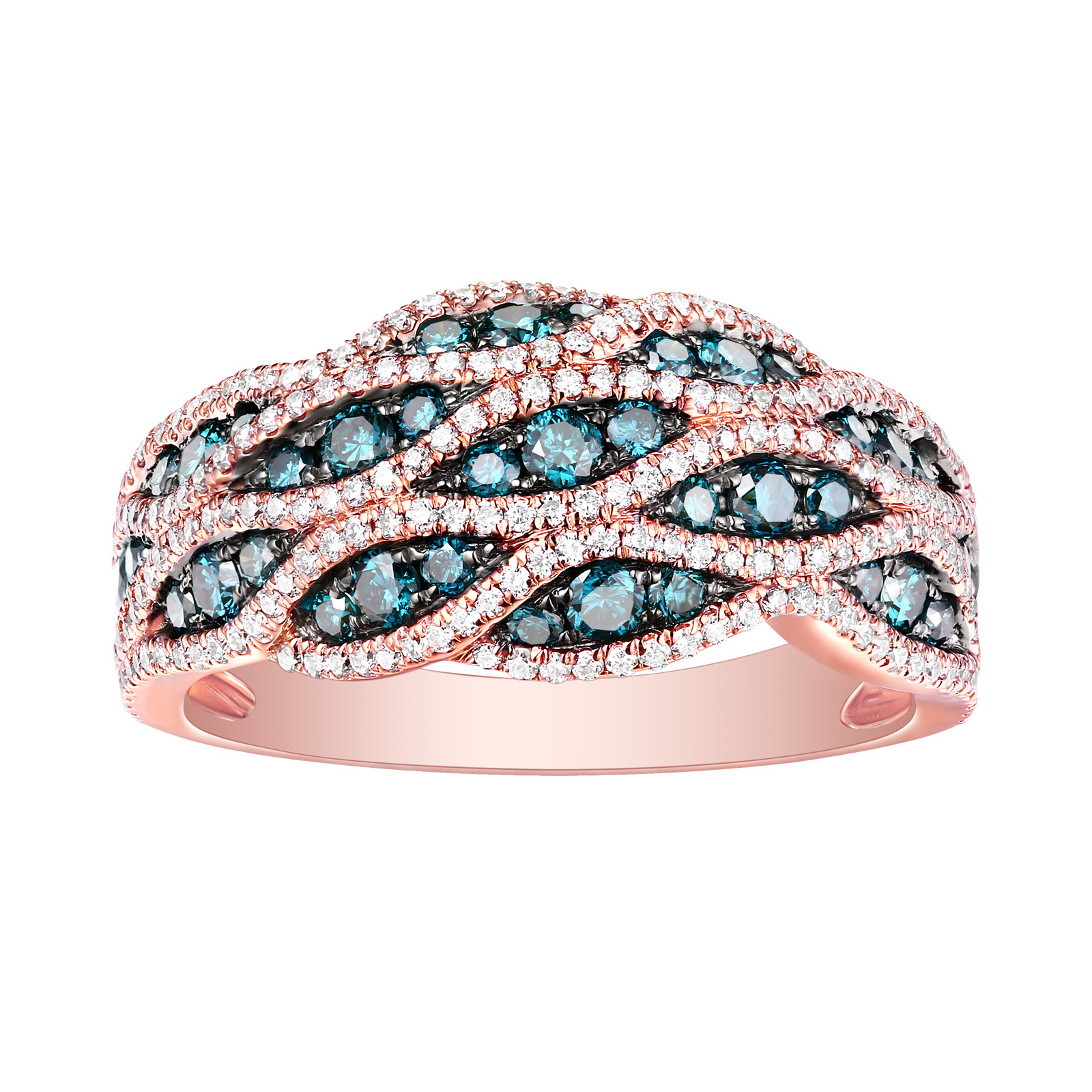 R26273BLU – 14K Rose Gold Diamond Ring, 1.12 TCW