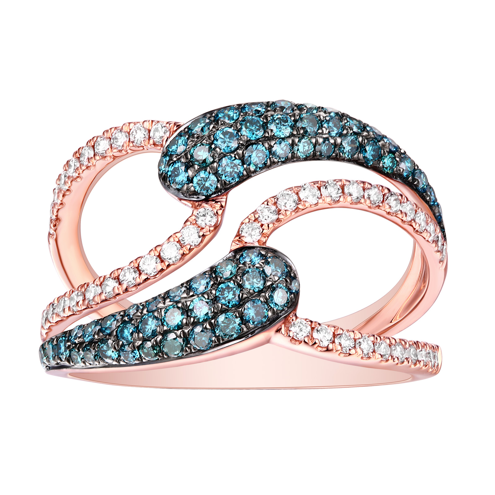 R26572ICE- 14K Rose Gold Diamond Ring, 0.88 TCW