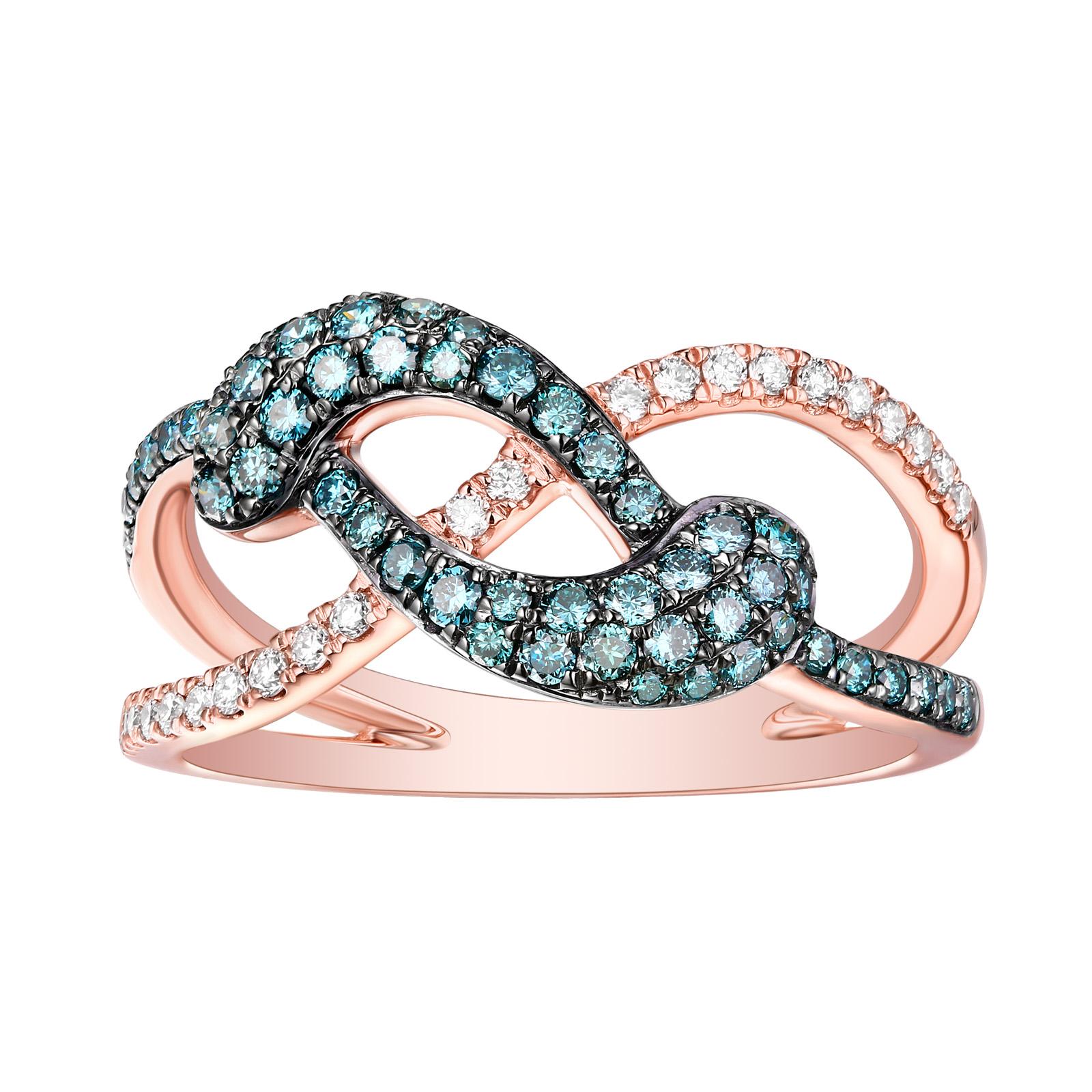 R26573ICE- 14K Rose Gold Diamond Ring , 0.60 TCW