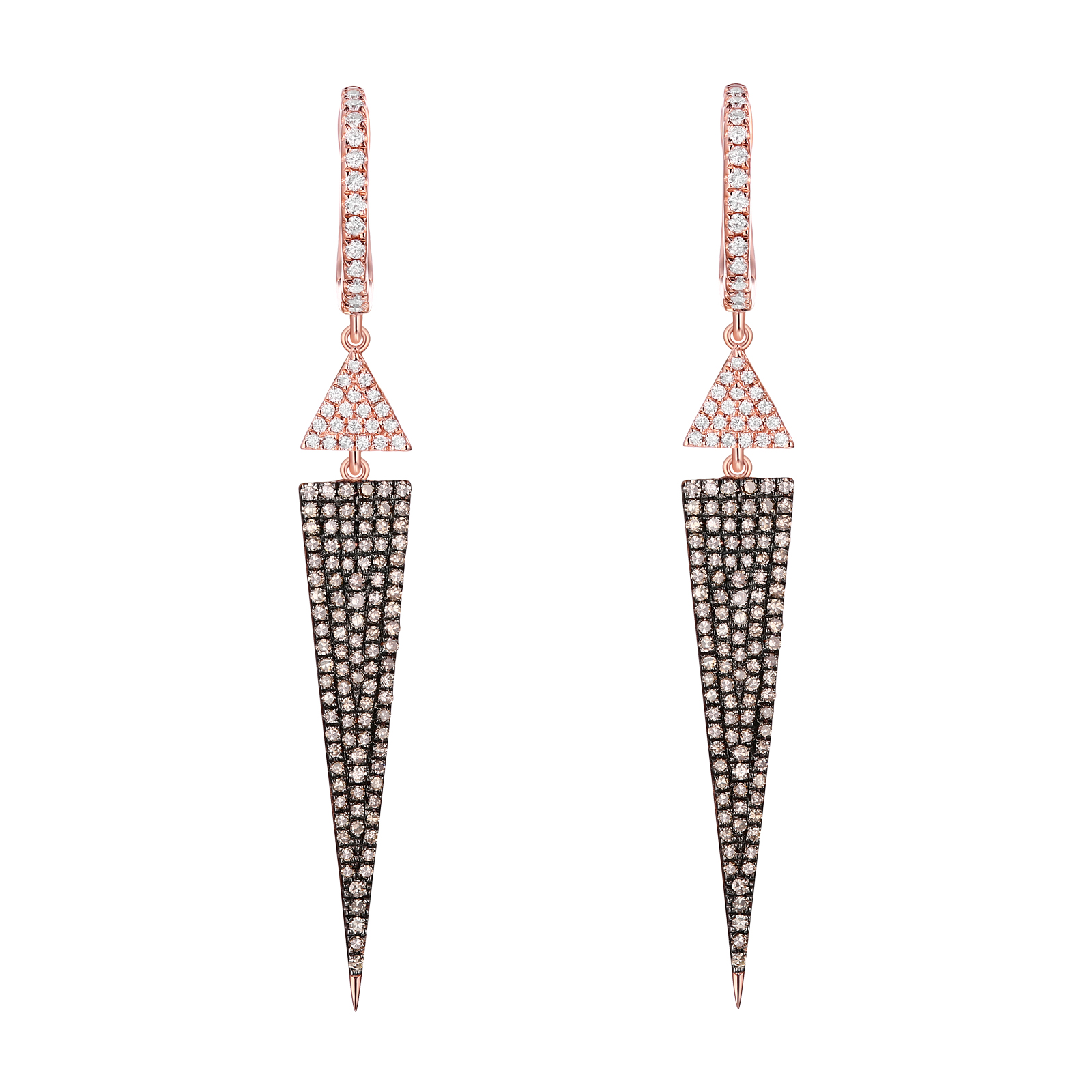 E23304WBR- 14K Rose Gold Diamond Earring, 0.97 TCW