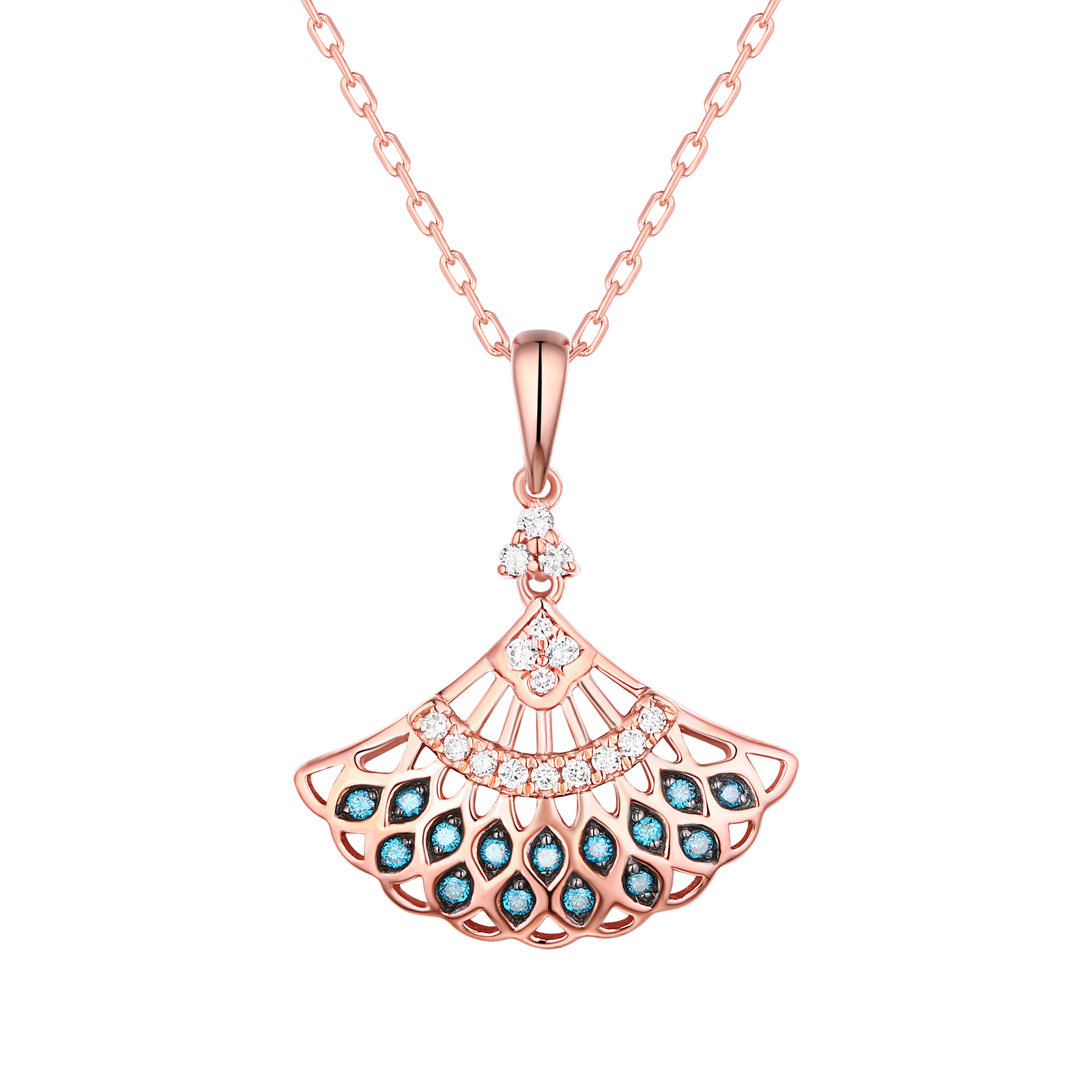 P29915BLU- 14K Rose Gold Diamond Pendant, 0.16 TCW