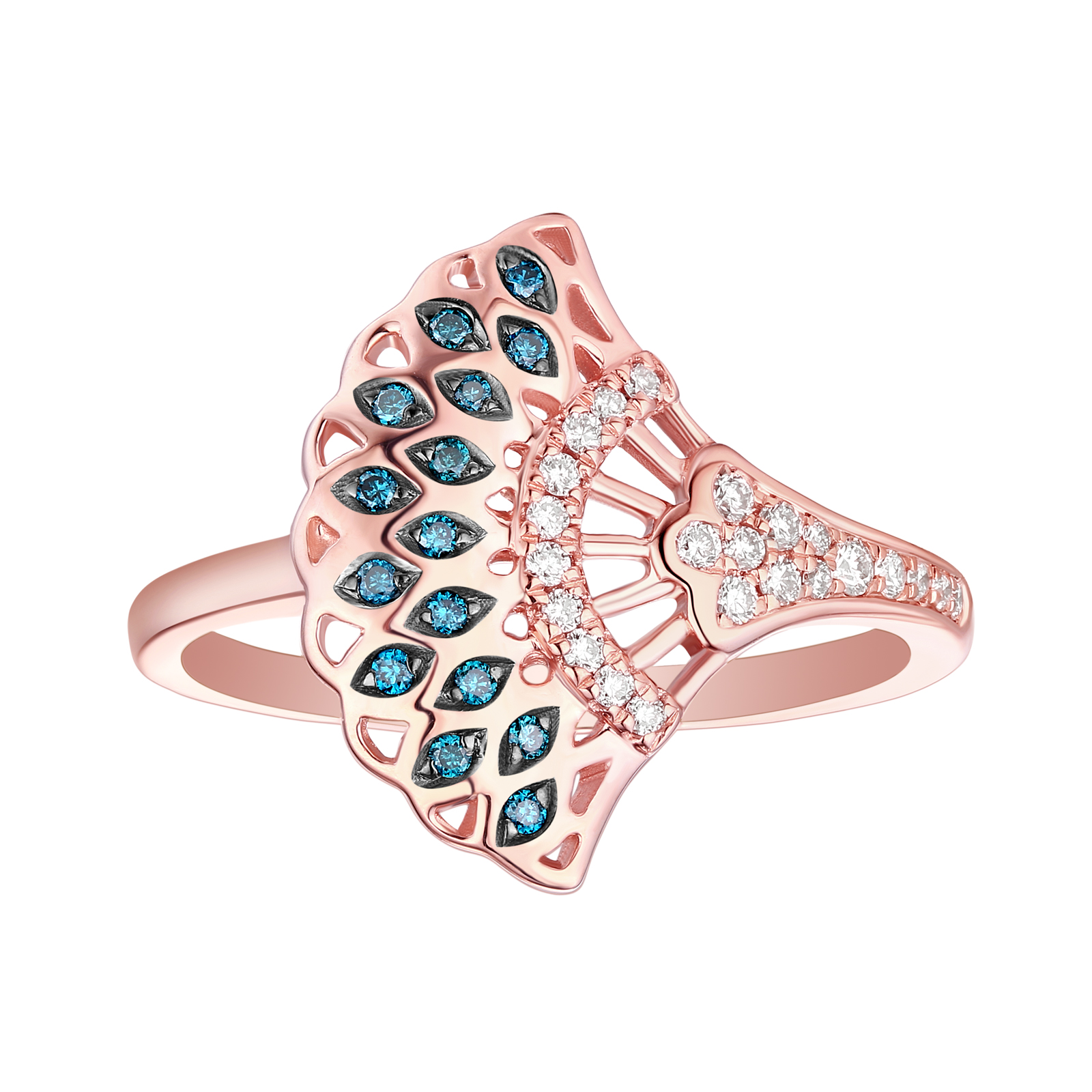 R29913BLU- 14K Rose Gold Diamond Ring, 0.20 TCW
