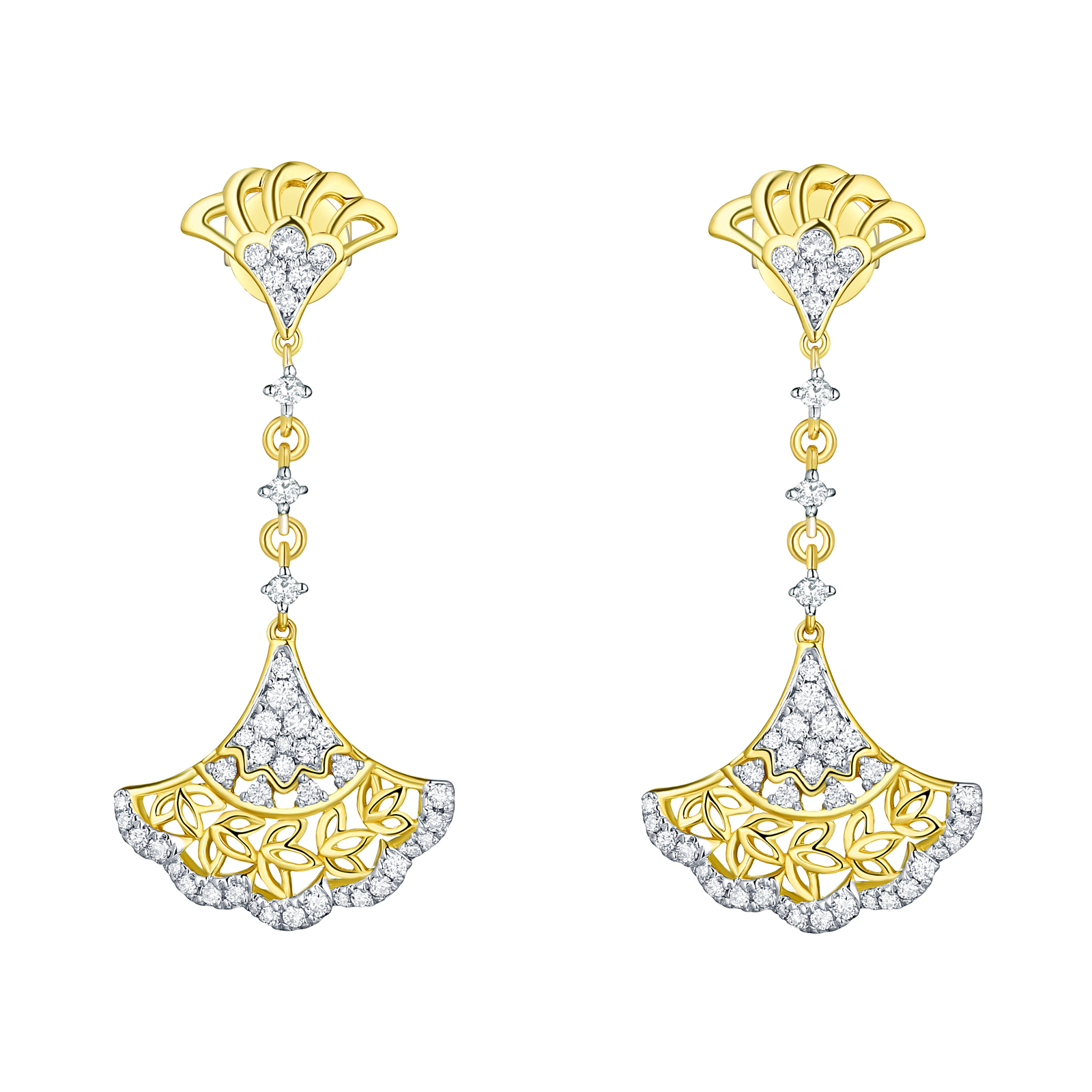 E29920WHT- 14K Yellow Gold Diamond Earrings, 0.42 TCW