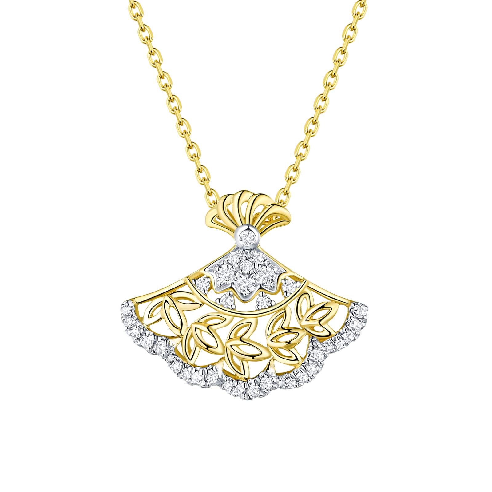 P29921WHT- 14K Yellow Gold Diamond Pendant, 0.17 TCW