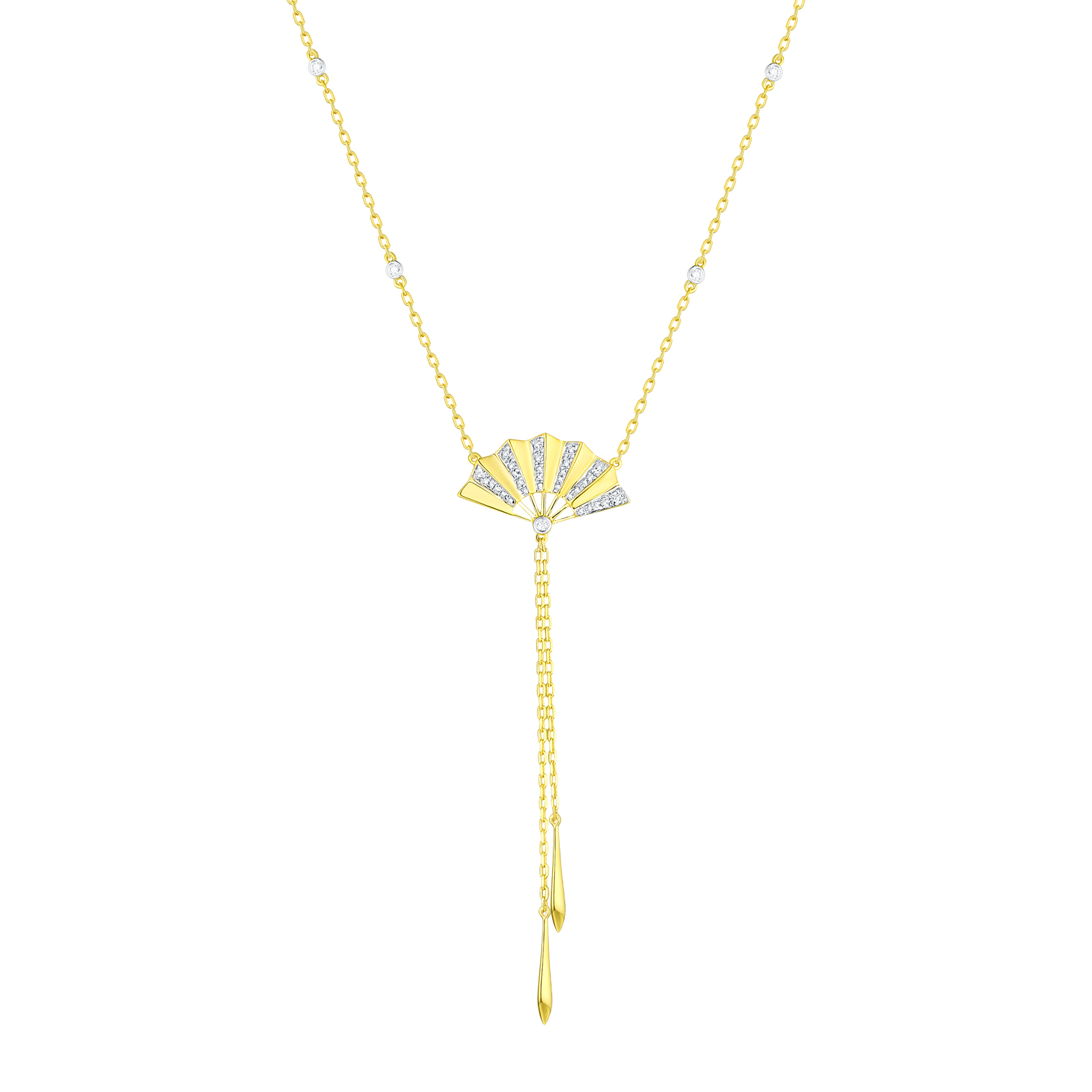 NL29859WHT- 14K Yellow Gold Diamond Necklace, 0.15 TCW