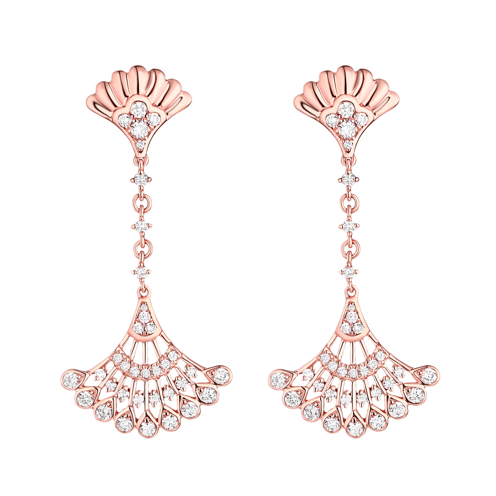 E29908WHT- 14K Rose Gold Diamond Earrings, 0.57 TCW