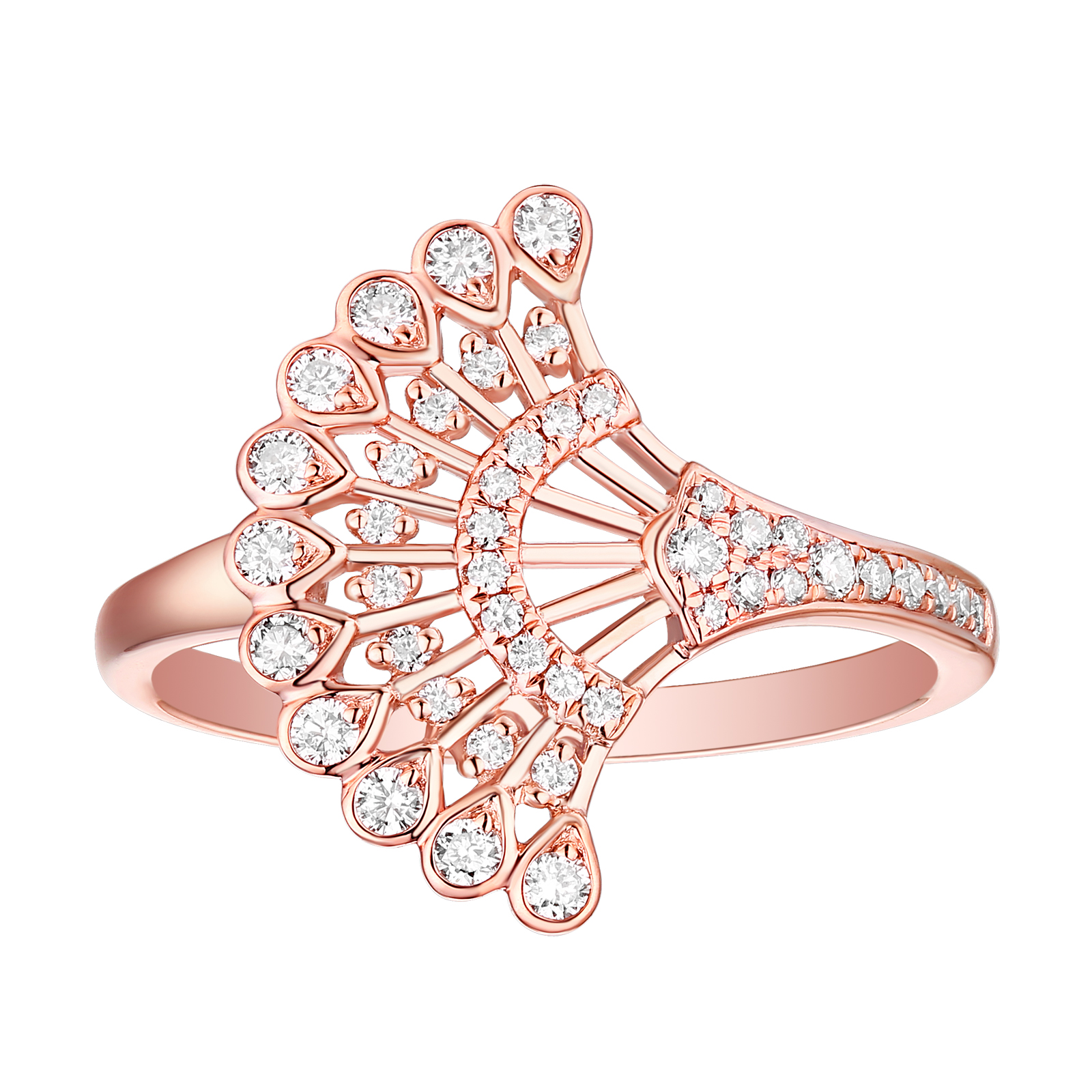 R29907WHT- 14K Rose Gold Diamond Ring, 0.31 TCW